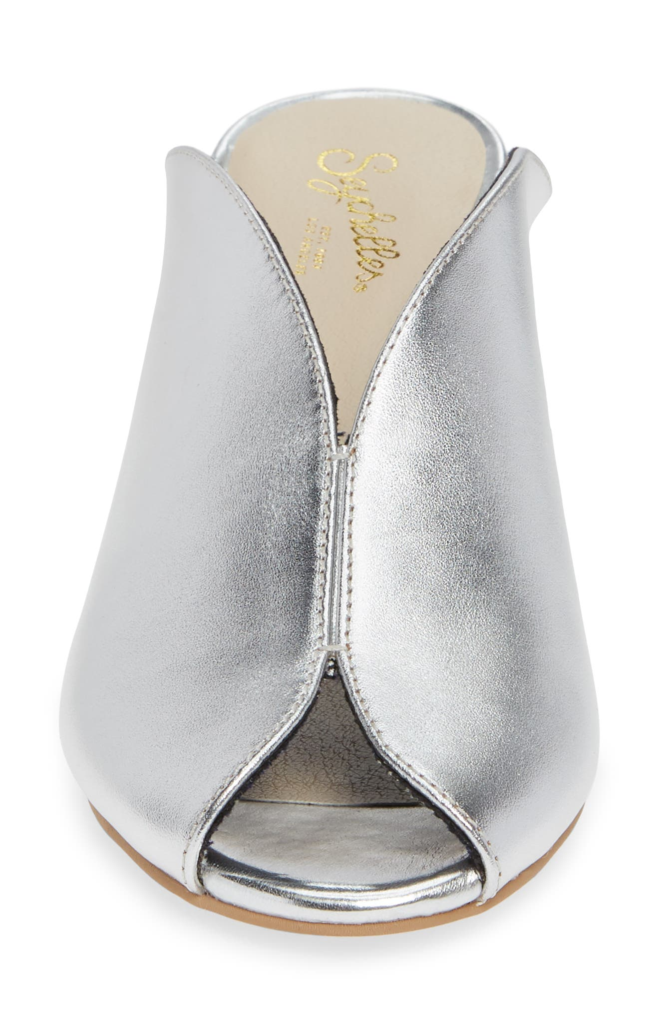 By the Beach V-Cut Sandal,                             Alternate thumbnail 4, color,                             SILVER LEATHER