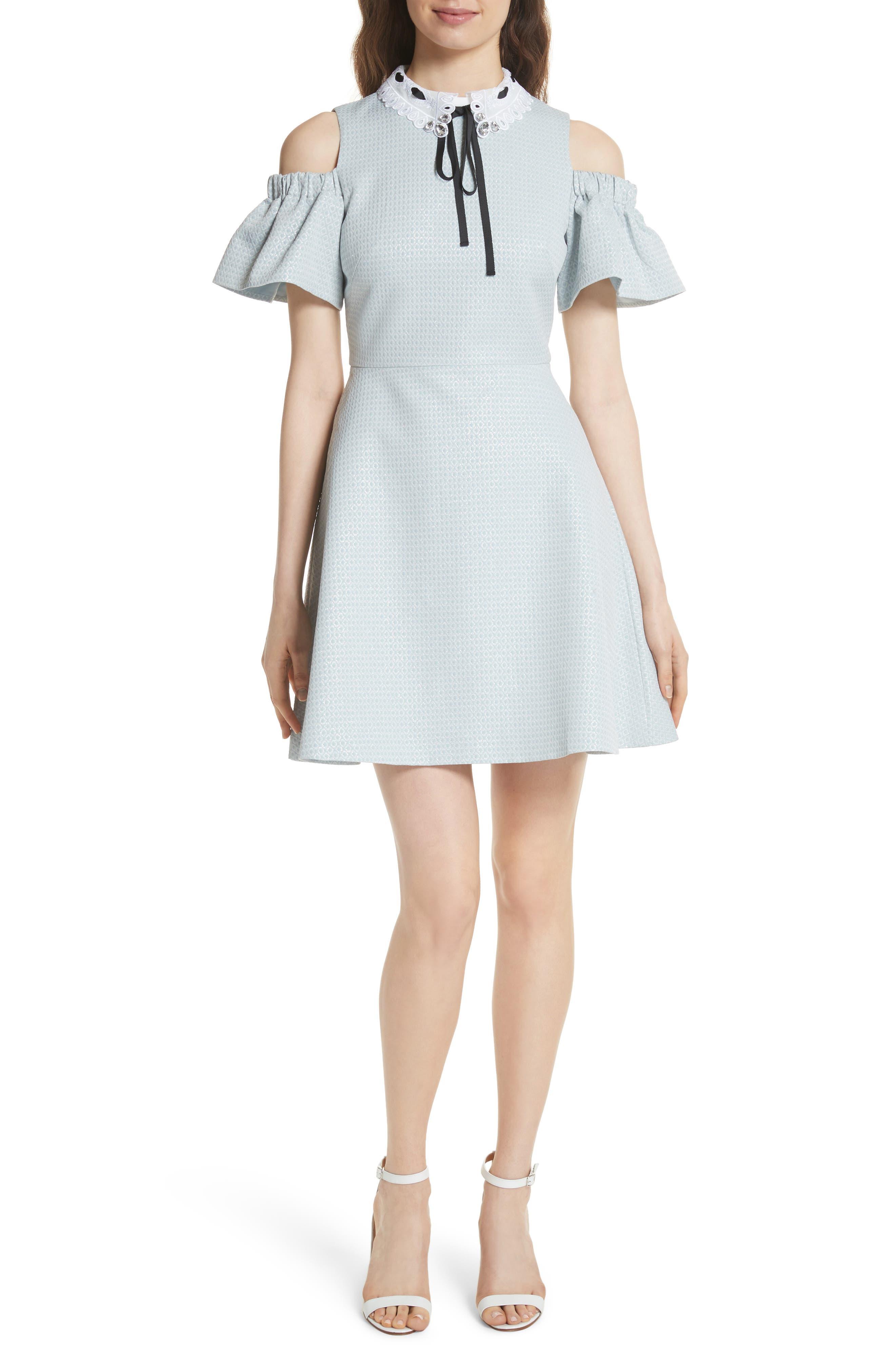 Cold Shoulder Skater Dress,                         Main,                         color,