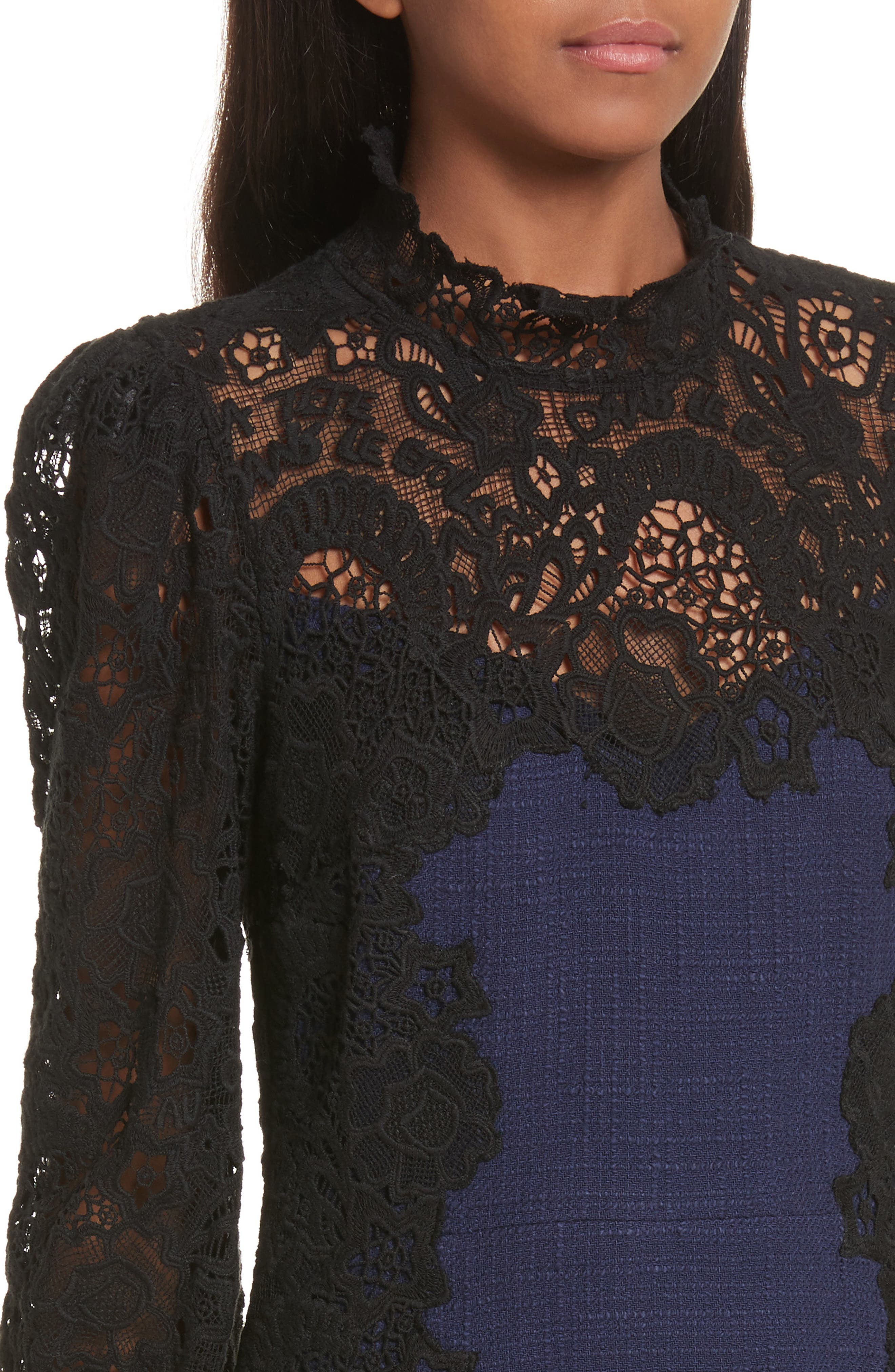 Tweed & Lace Dress,                             Alternate thumbnail 4, color,                             544