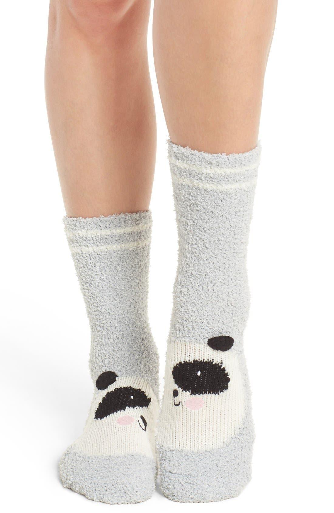 Panda Plush Socks,                             Main thumbnail 1, color,                             028