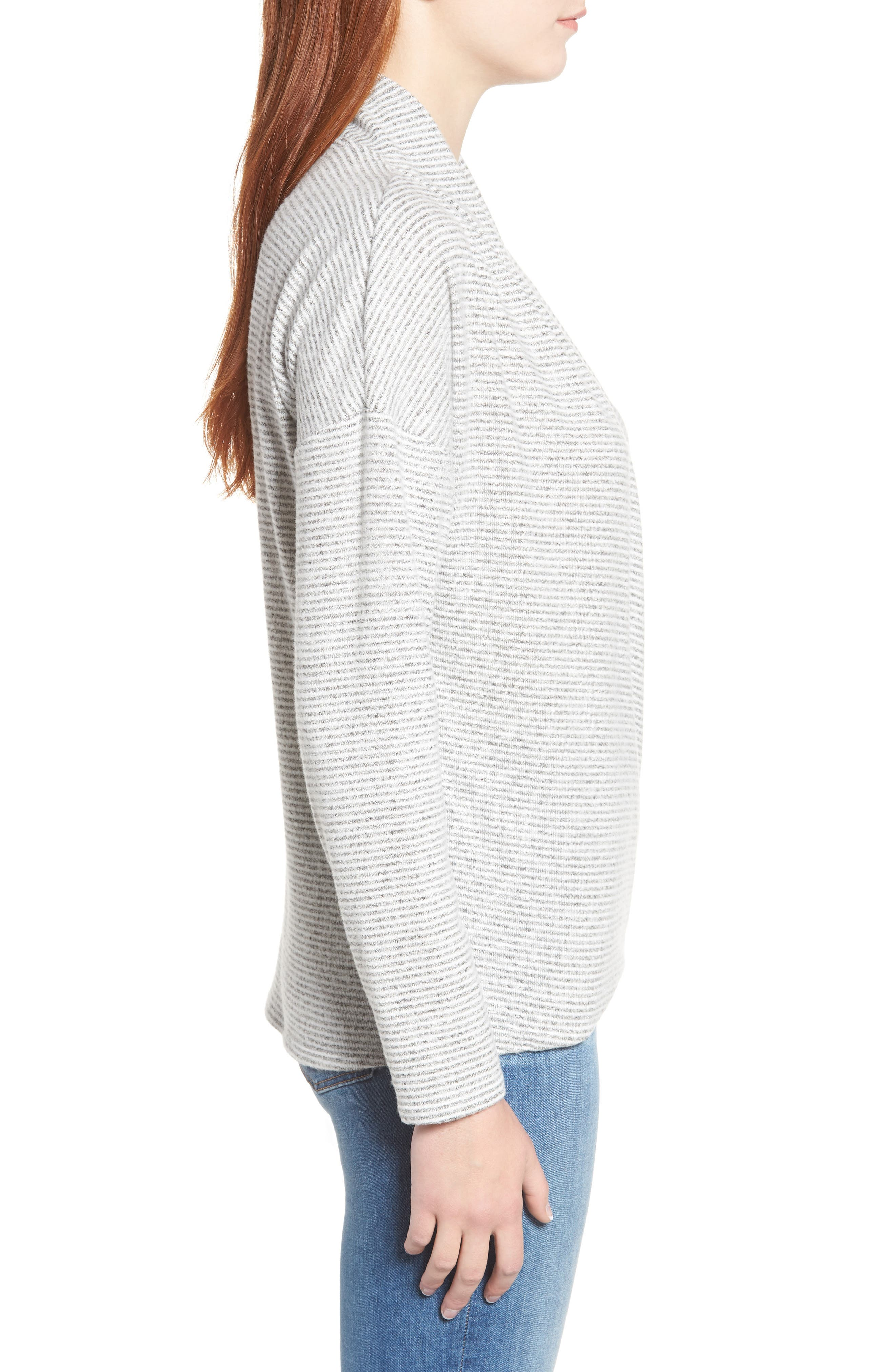 GIBSON,                             x Living in Yellow Diana Cozy Knit Wrap Top,                             Alternate thumbnail 3, color,                             GREY/ IVORY