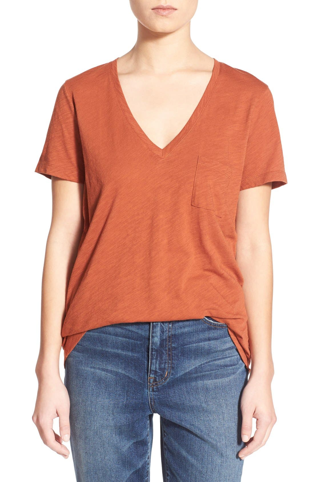 Whisper Cotton V-Neck Pocket Tee,                             Main thumbnail 13, color,