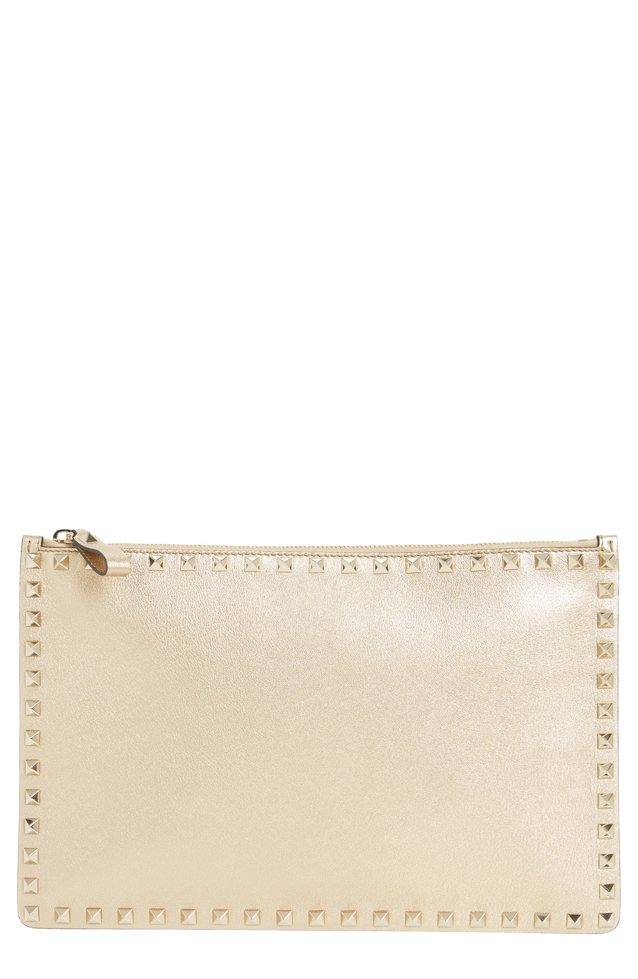 Large Rockstud Leather Pouch,                             Main thumbnail 1, color,                             MEKONG