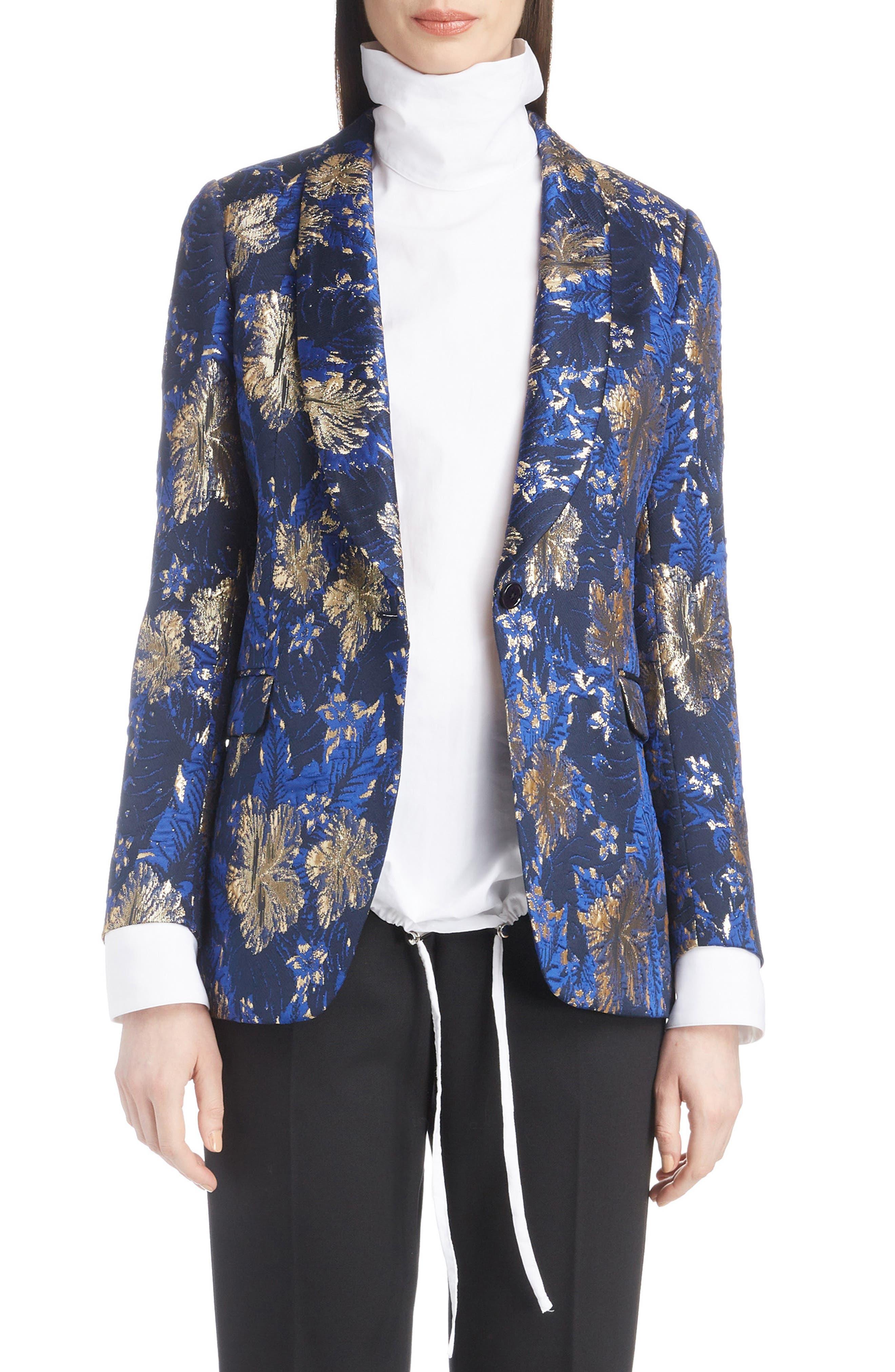 Metallic Floral Jacquard Blazer,                         Main,                         color, BLUE