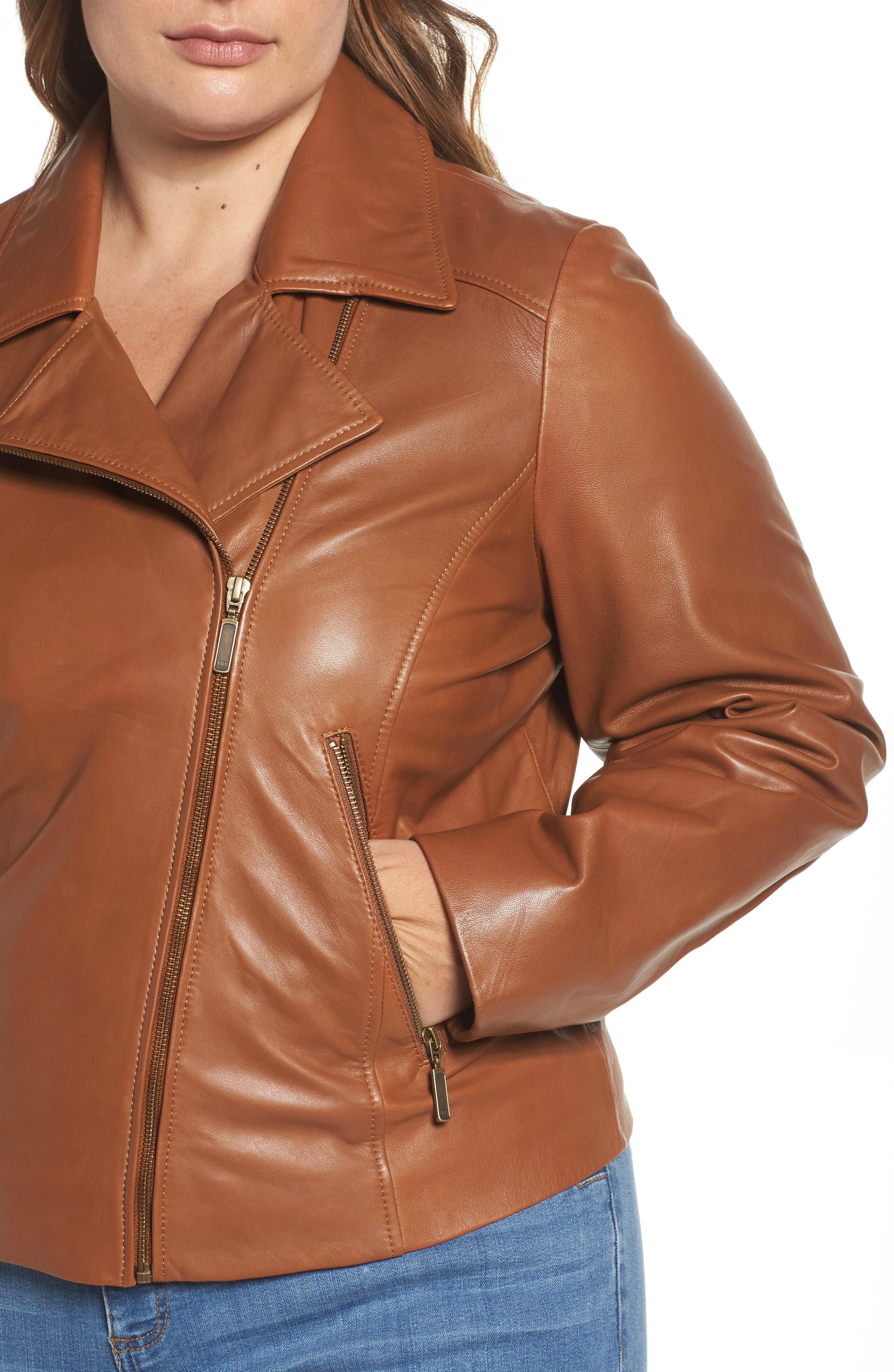 Leather Moto Jacket,                             Alternate thumbnail 15, color,