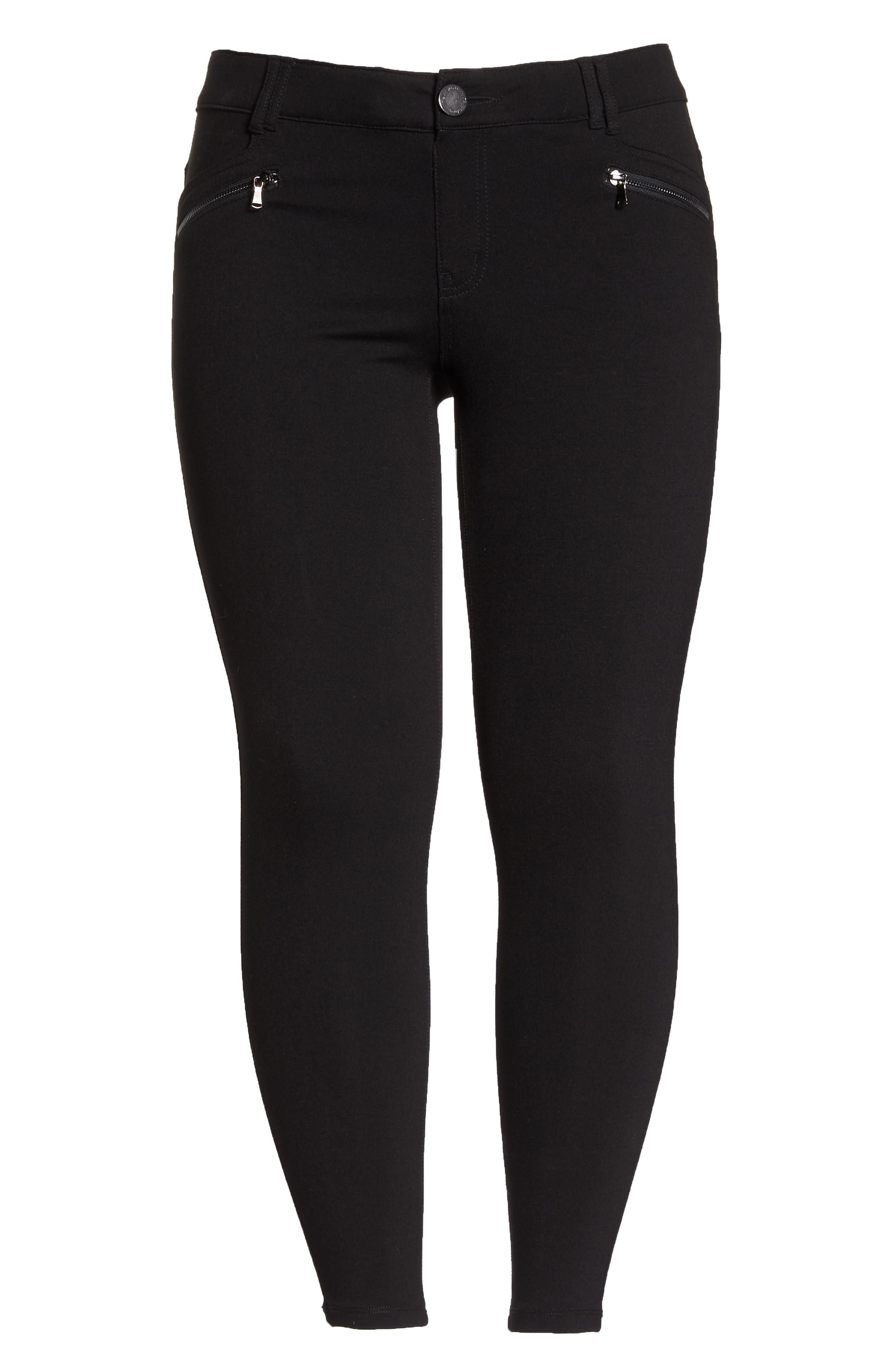 Ab-solution Zip Pocket Skinny Pants,                             Alternate thumbnail 7, color,                             BLACK