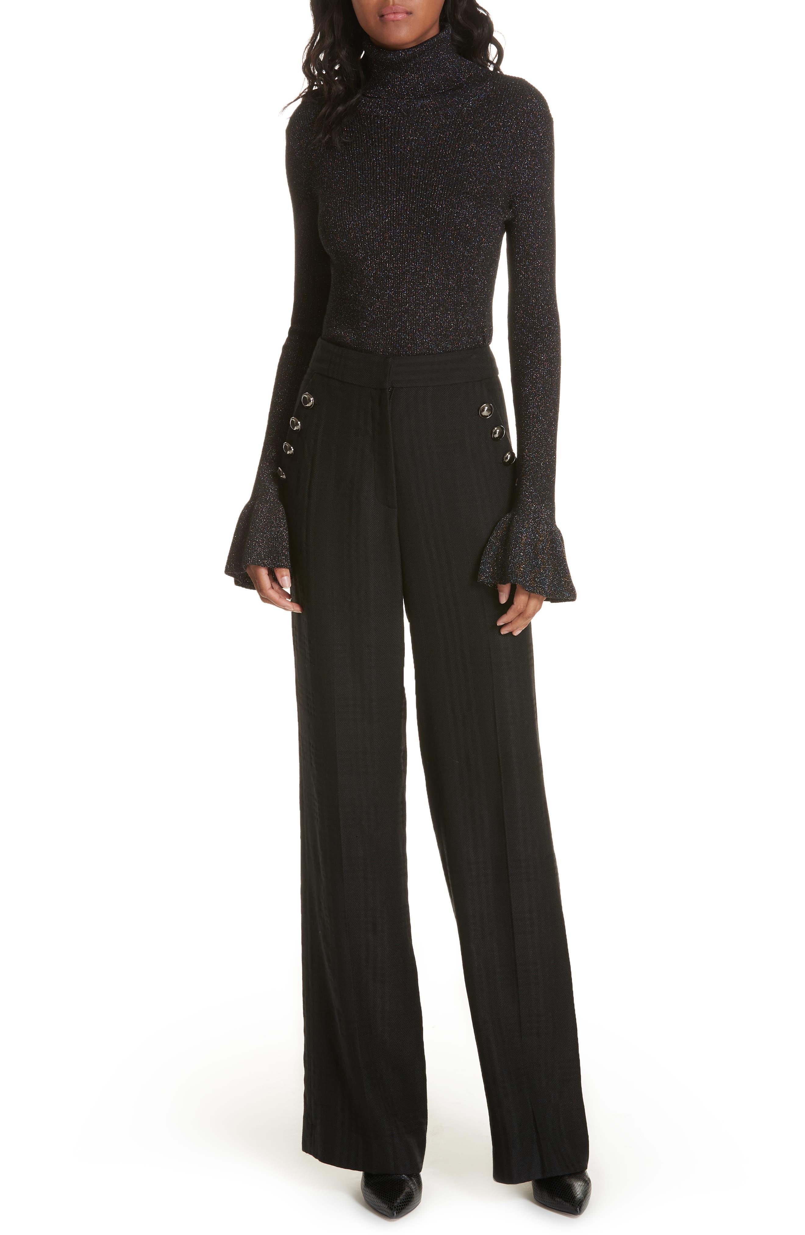 Tuli Check Button Detail Pants,                             Alternate thumbnail 7, color,                             BLACK/ BLACK
