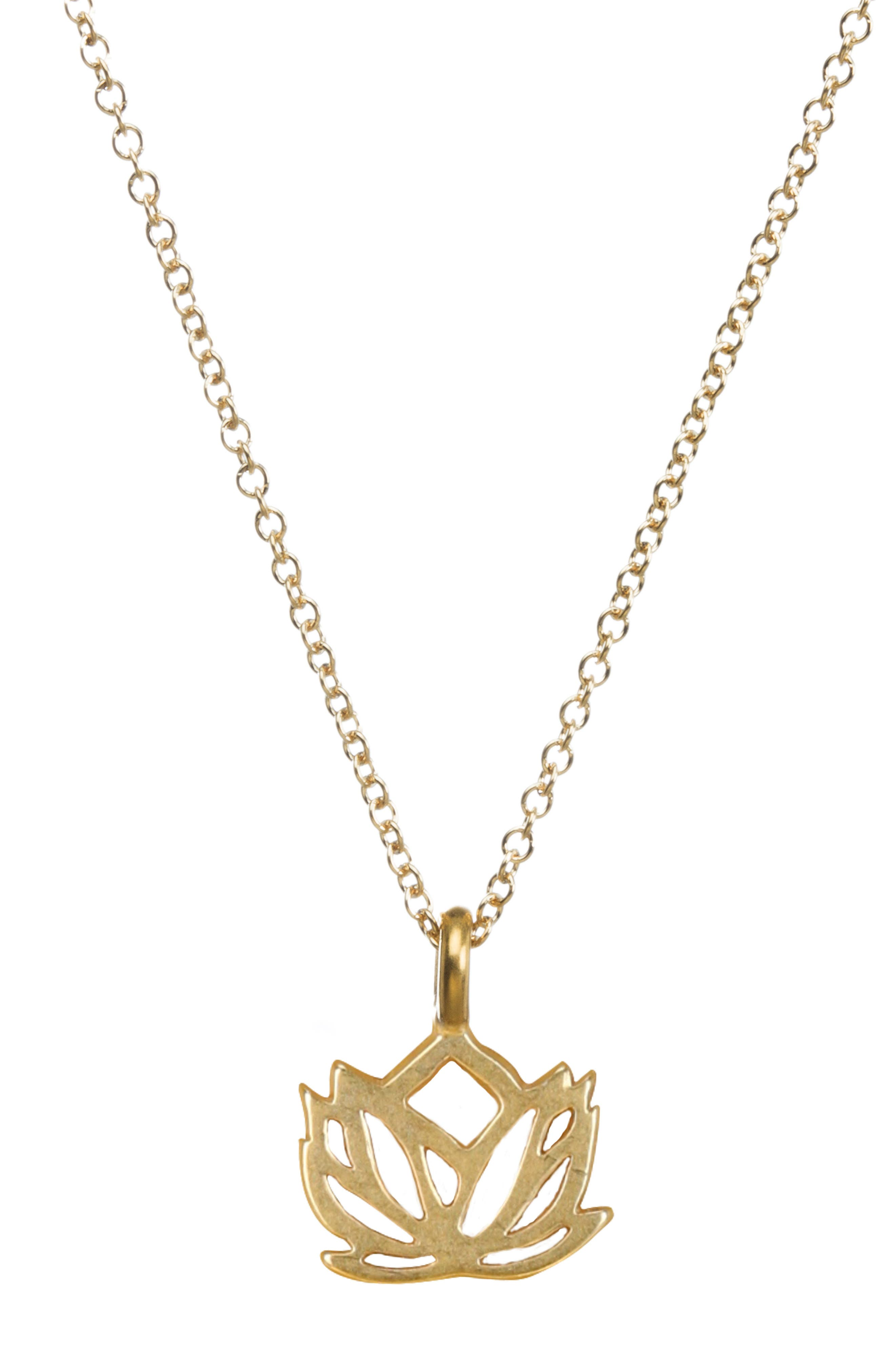 Lotus Reminder Pendant Necklace,                         Main,                         color, GOLD