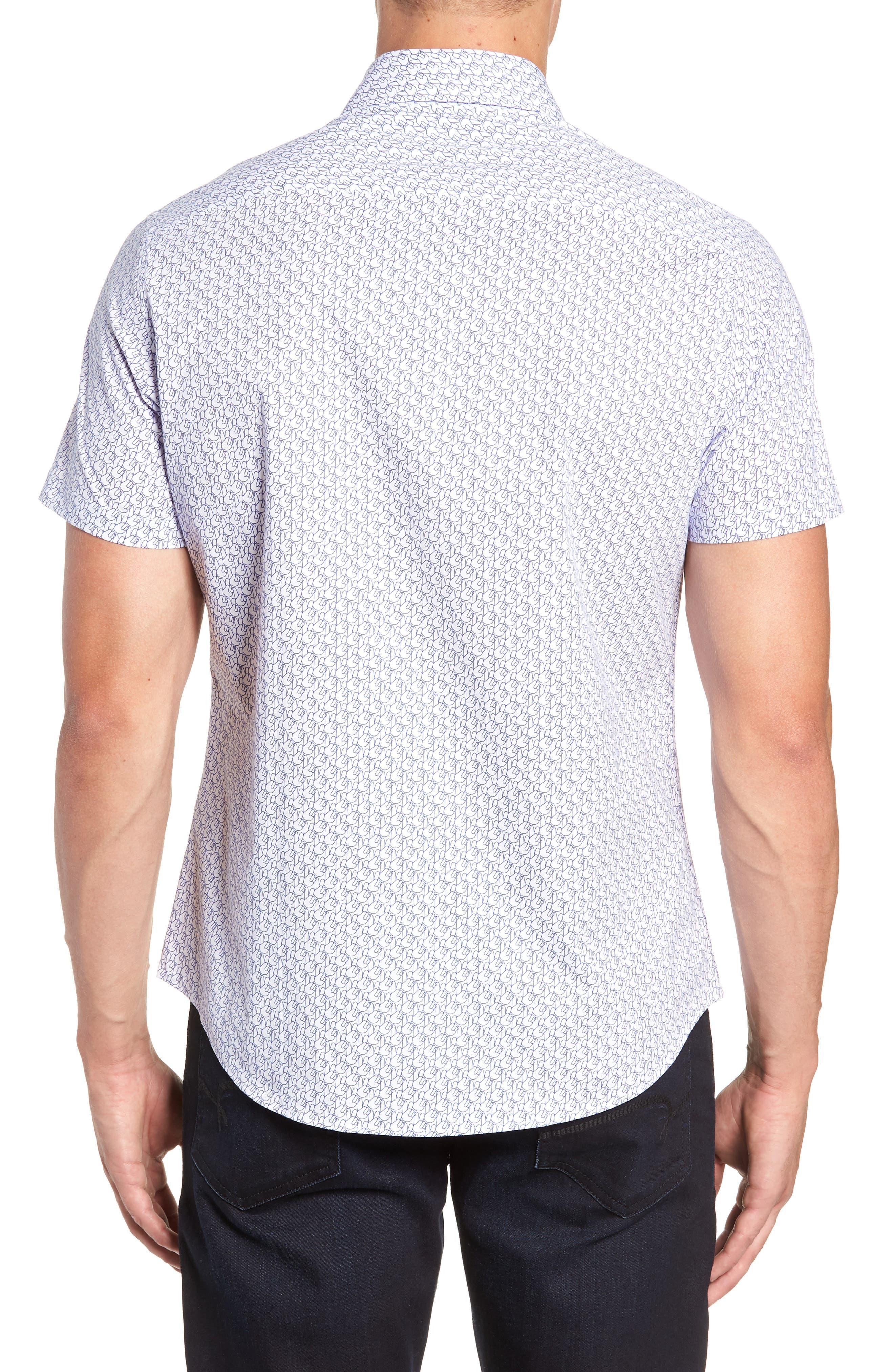 Peace Sign Regular Fit Sport Shirt,                             Alternate thumbnail 3, color,                             100