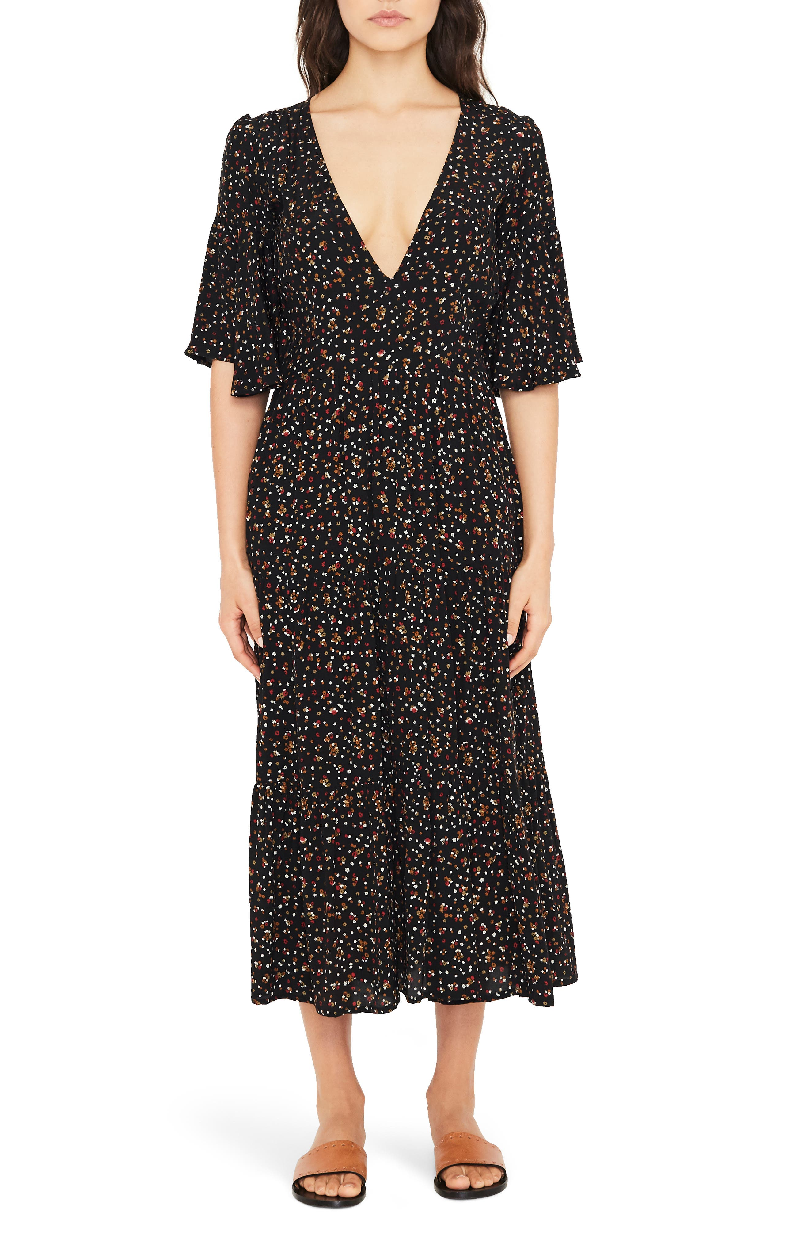 Melia Ditsy Floral Print Midi Dress,                             Main thumbnail 1, color,                             001