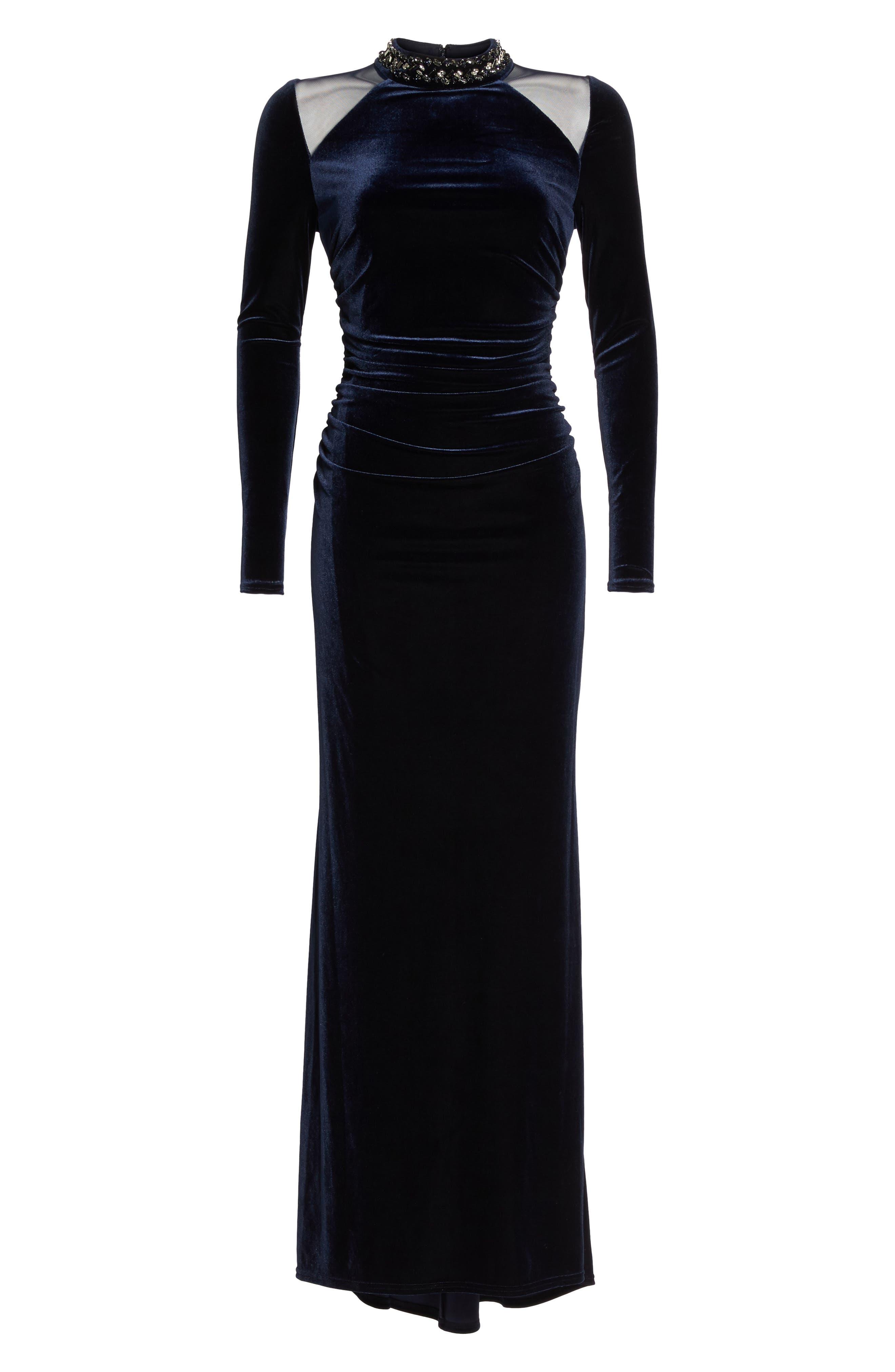Mesh Panel Embellished Velvet Gown,                             Alternate thumbnail 6, color,                             410