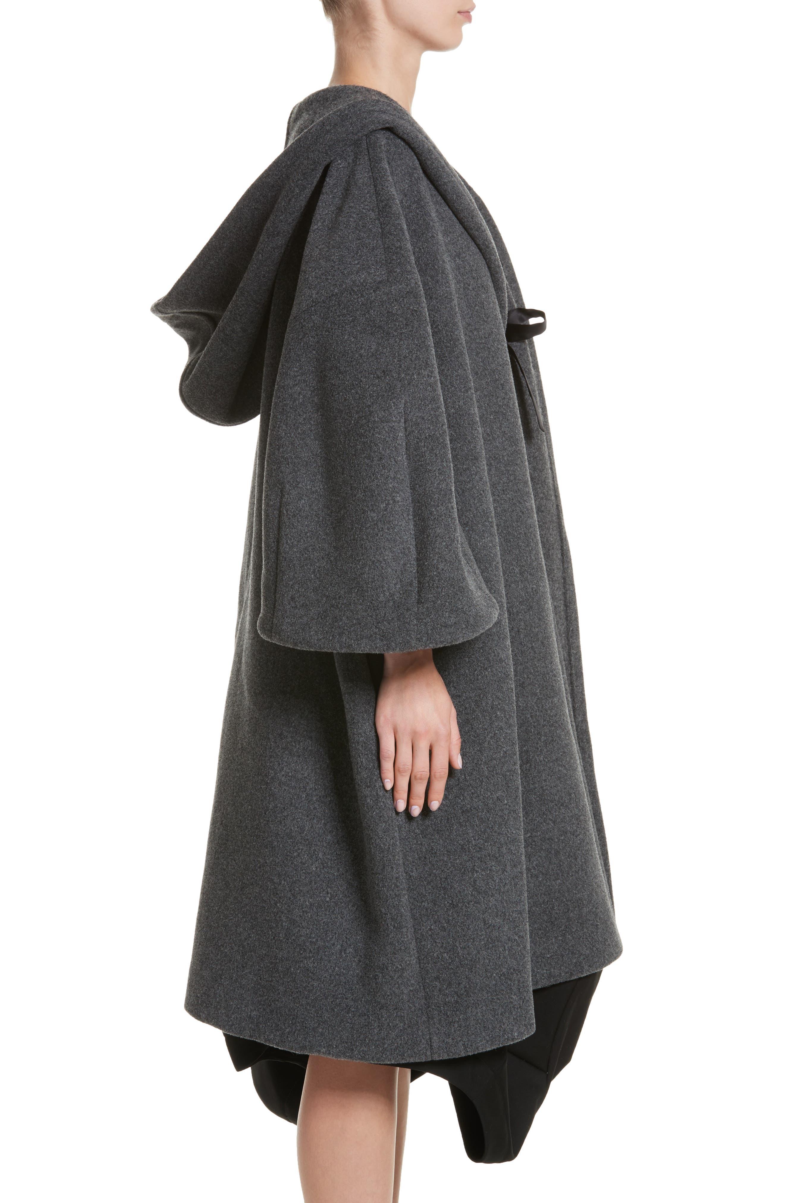 Long Hooded Wool Blend Coat,                             Alternate thumbnail 3, color,                             020
