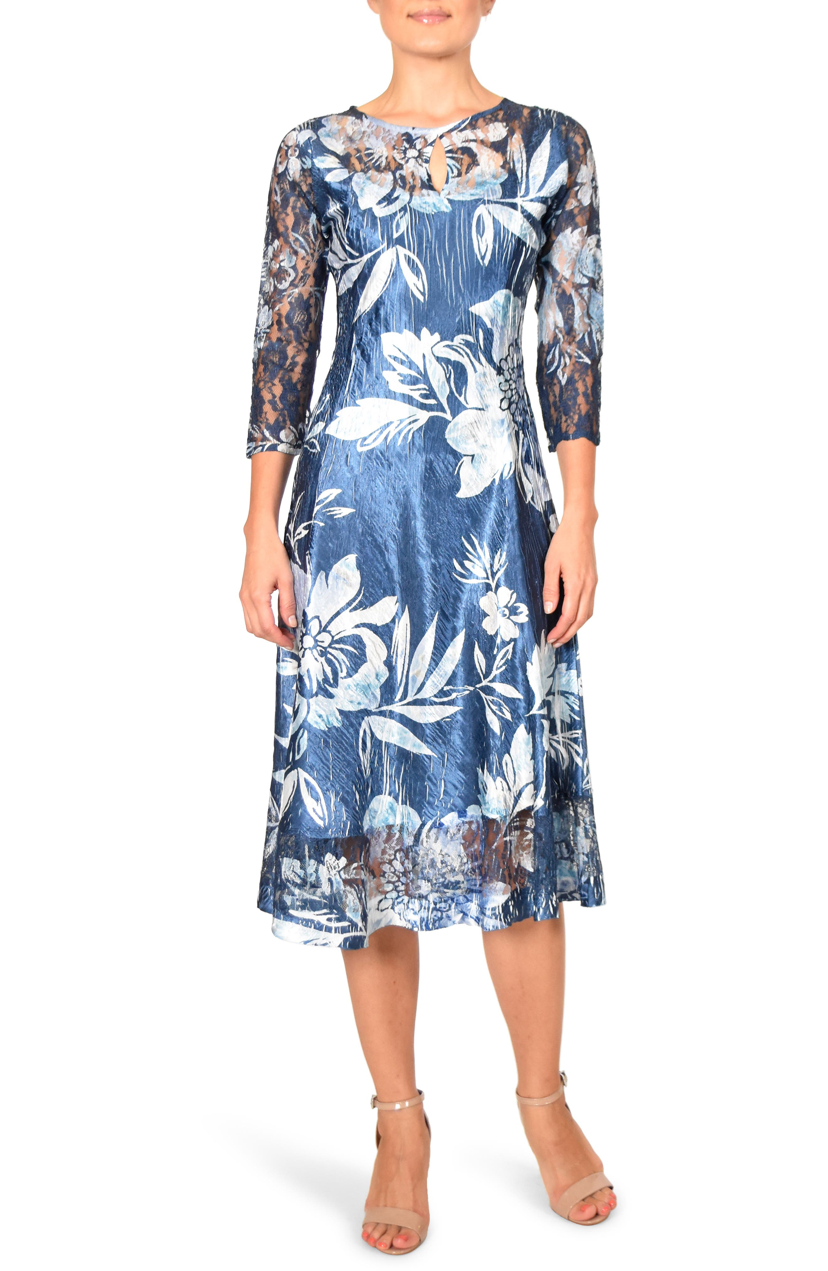 Komarov Keyhole Cutout Floral Print Cocktail Dress, Blue