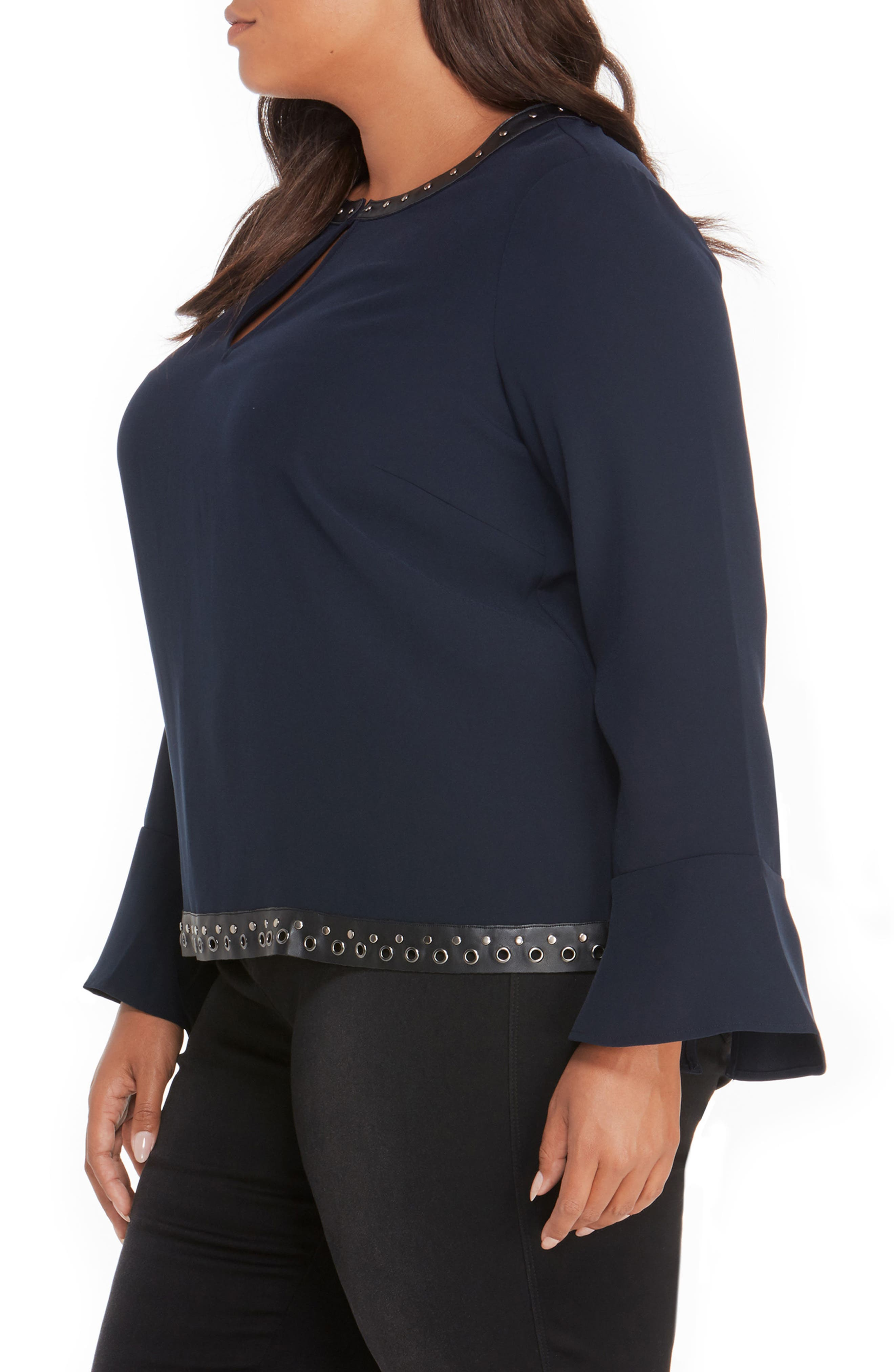 Studded Faux Leather Trim Top,                             Alternate thumbnail 8, color,