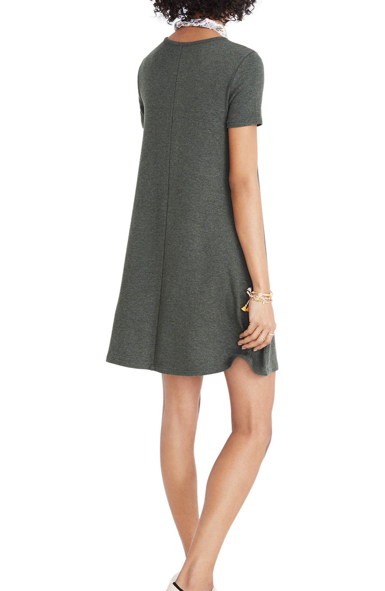 Ribbed Swingy T-Shirt Dress,                             Alternate thumbnail 2, color,