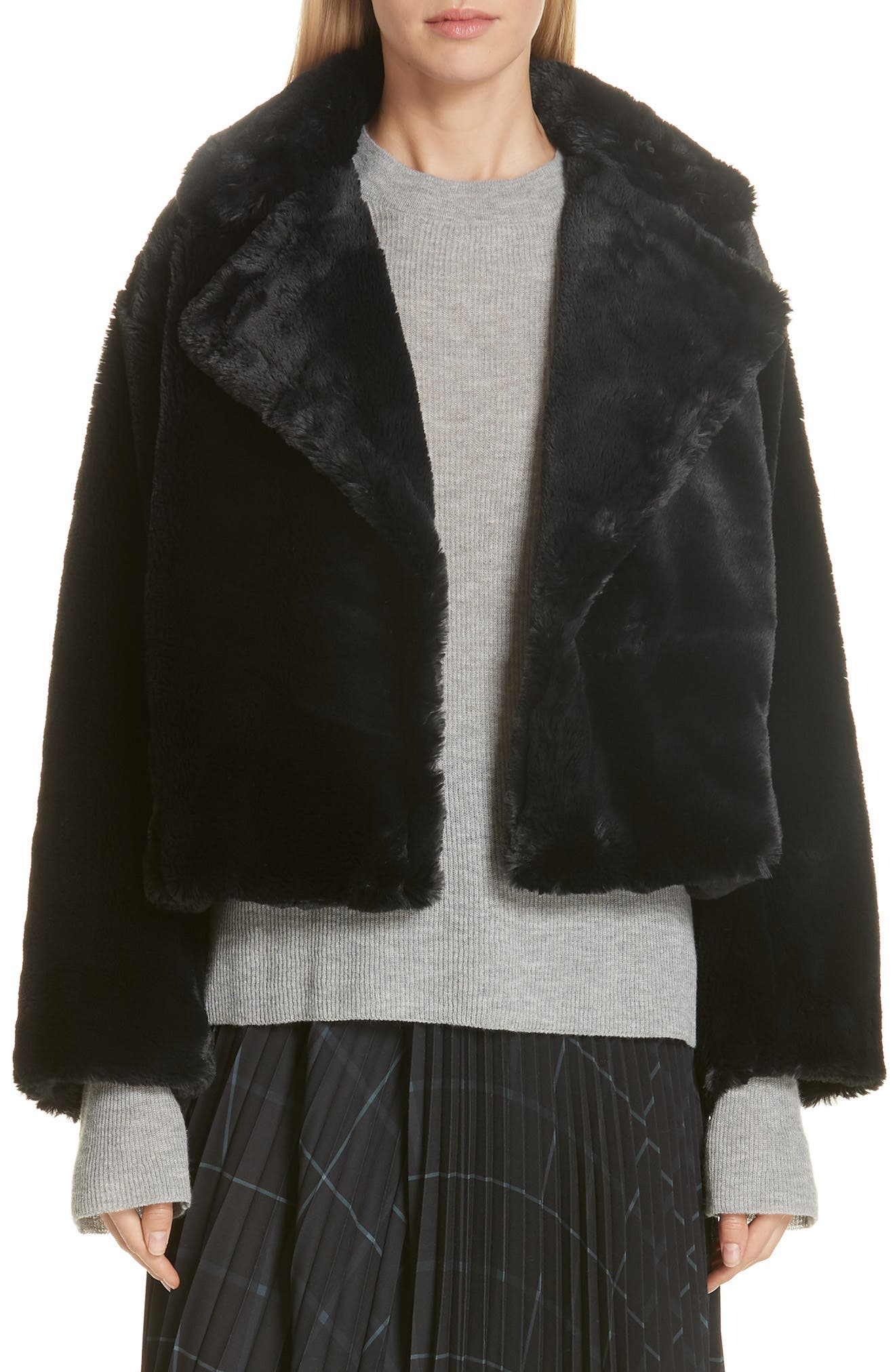 Plush Faux Fur Coat,                             Main thumbnail 1, color,                             IRON