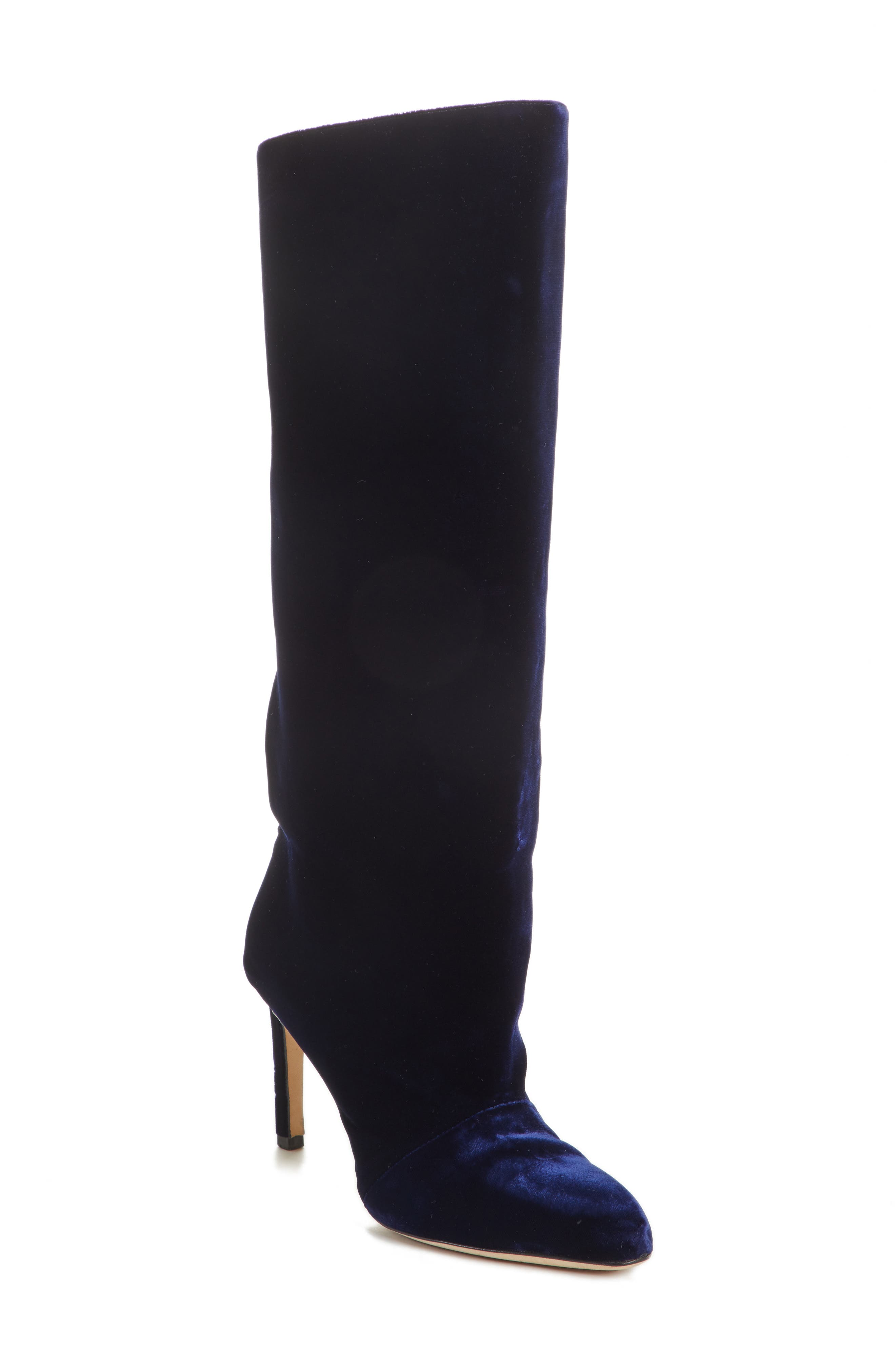 Knee High Velvet Boot,                             Main thumbnail 1, color,                             NAVY