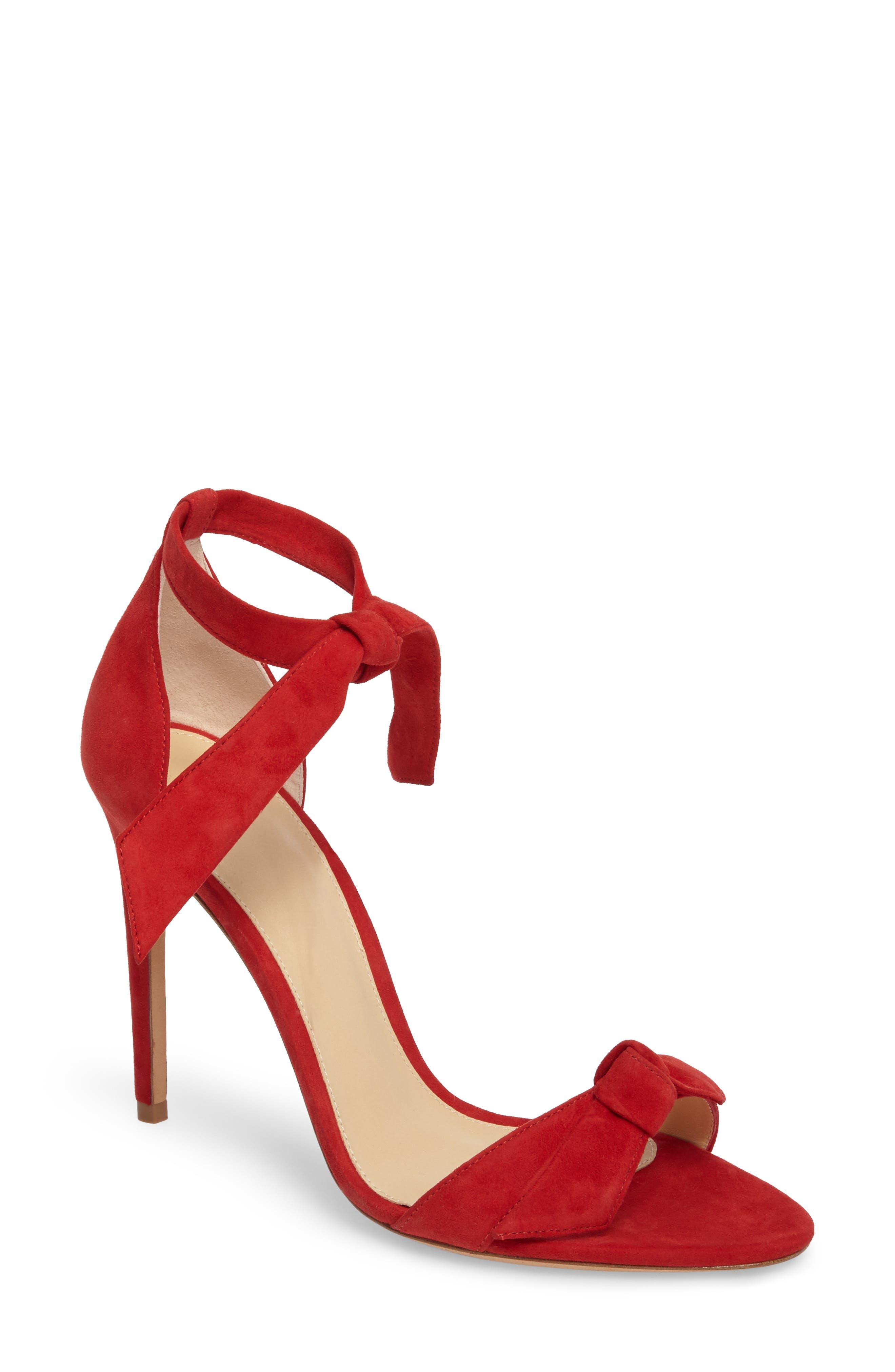 'Clarita' Ankle Tie Sandal,                             Main thumbnail 1, color,                             FLAME SUEDE