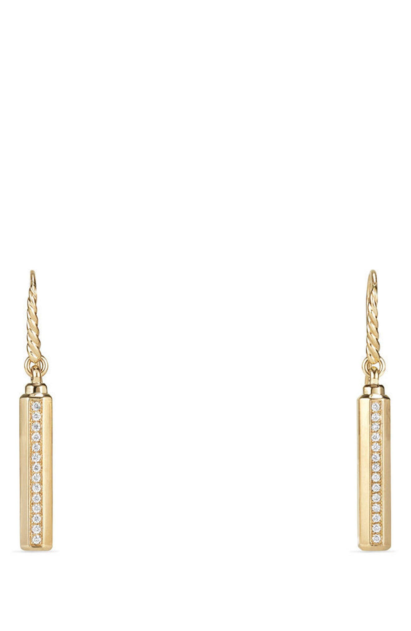 Barrels Drop Earrings with Diamonds in 18k Gold,                         Main,                         color, YELLOW GOLD