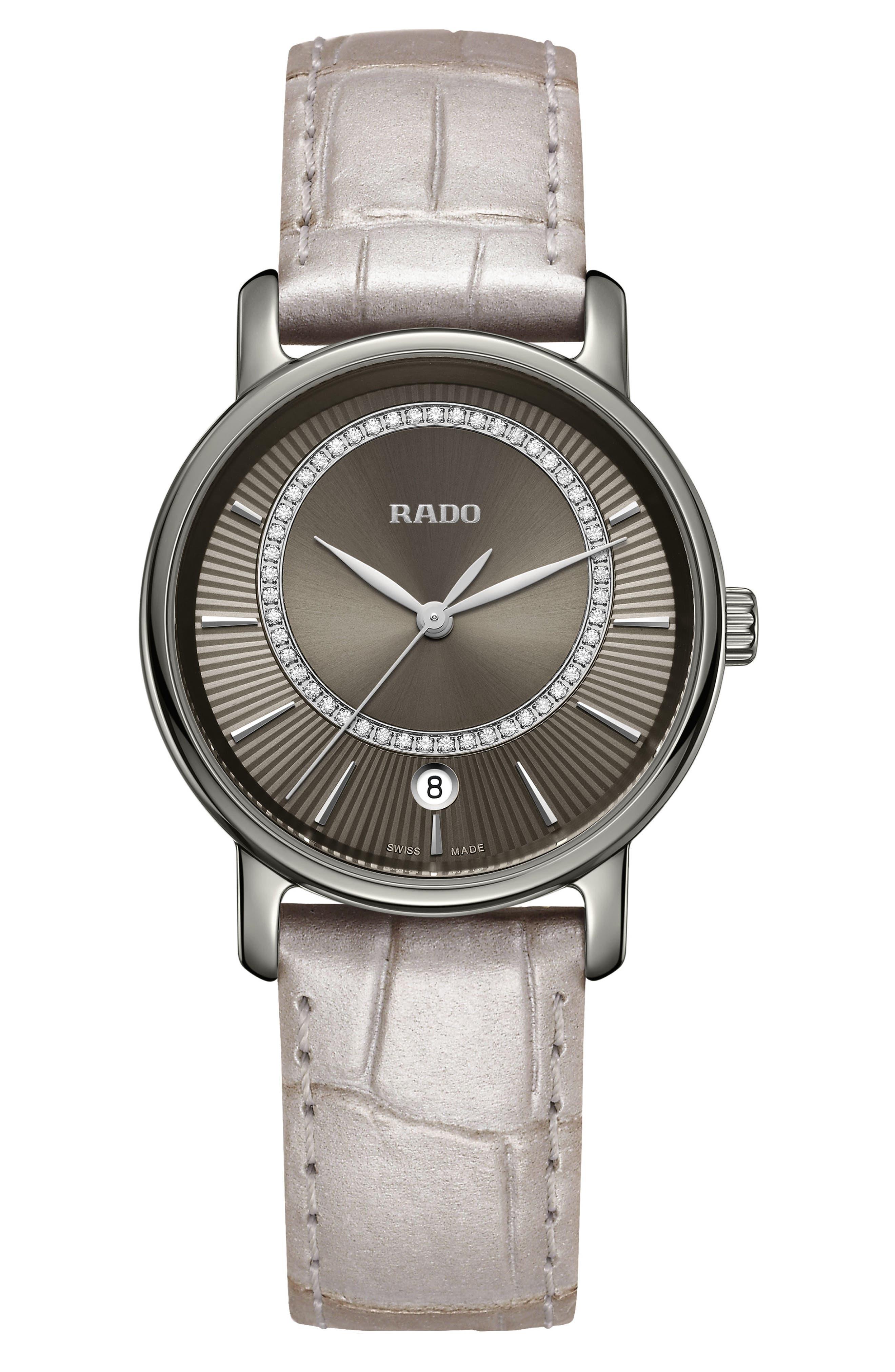DiaMaster Diamond Leather Strap Watch, 33mm, Main, color, GREY/ TITANIUM