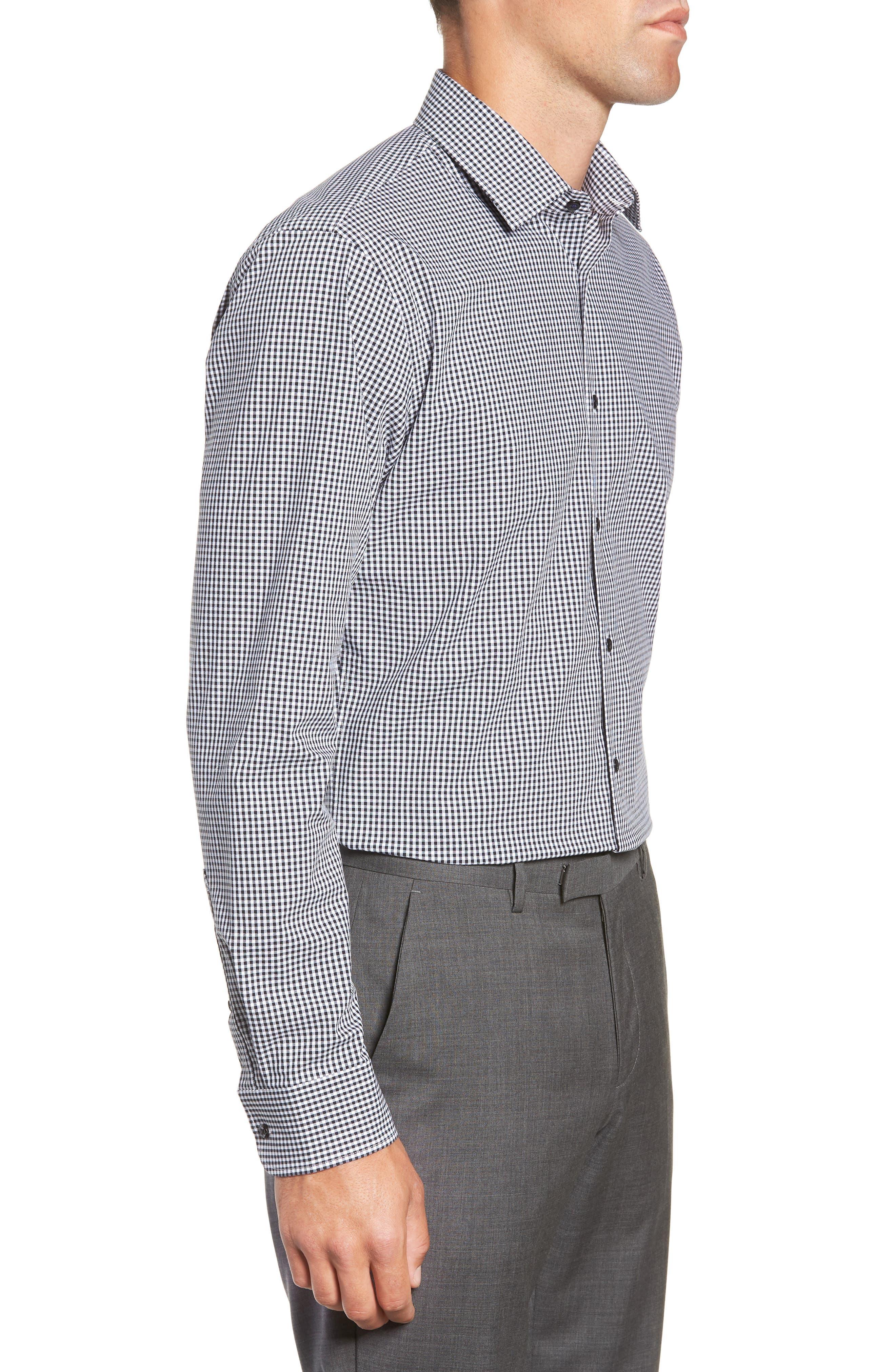 Tech-Smart Trim Fit Stretch Check Dress Shirt,                             Alternate thumbnail 4, color,                             BLACK ROCK
