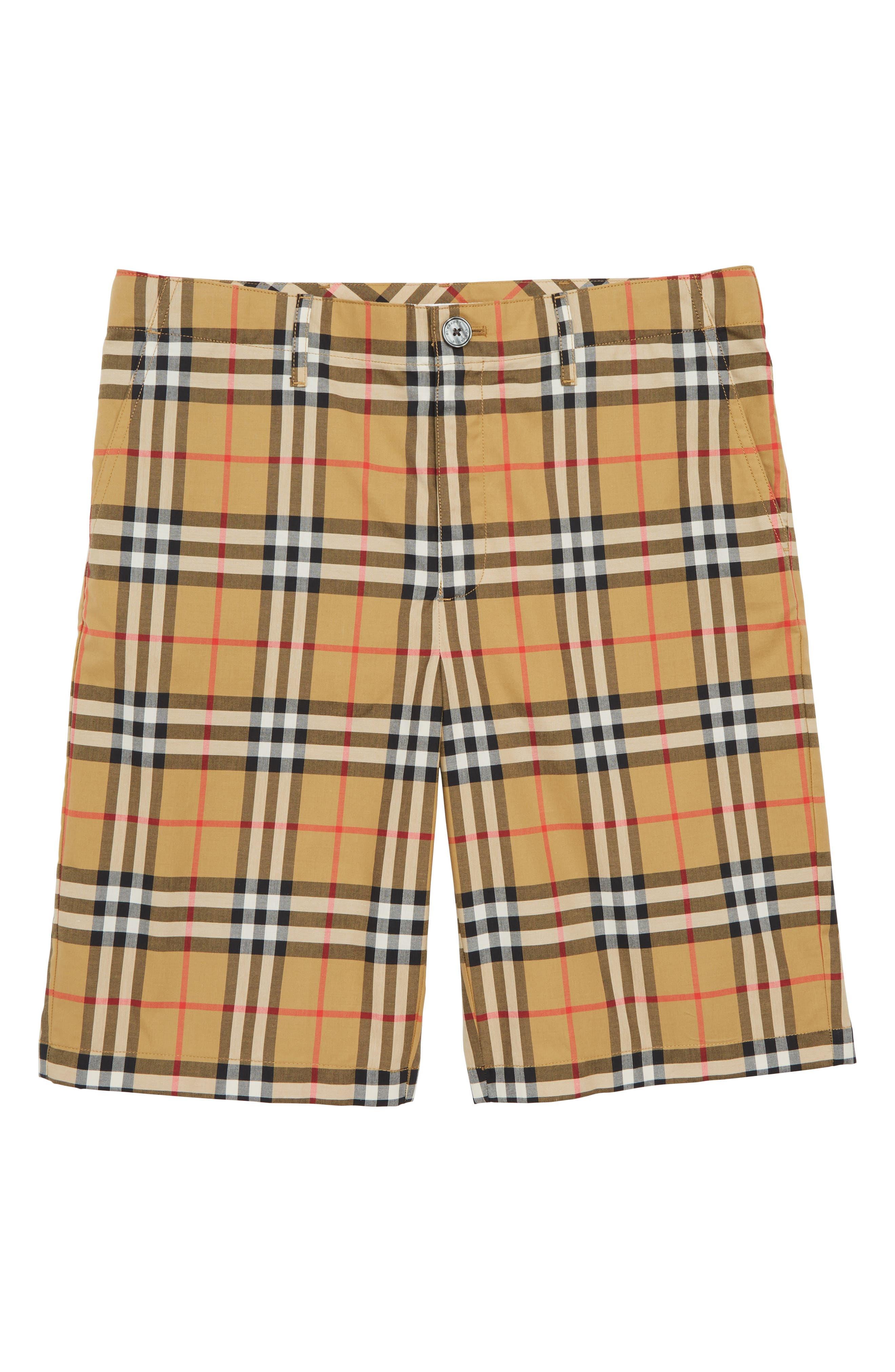 Tristen Check Shorts,                             Main thumbnail 1, color,                             ANTIQUE YELLOW