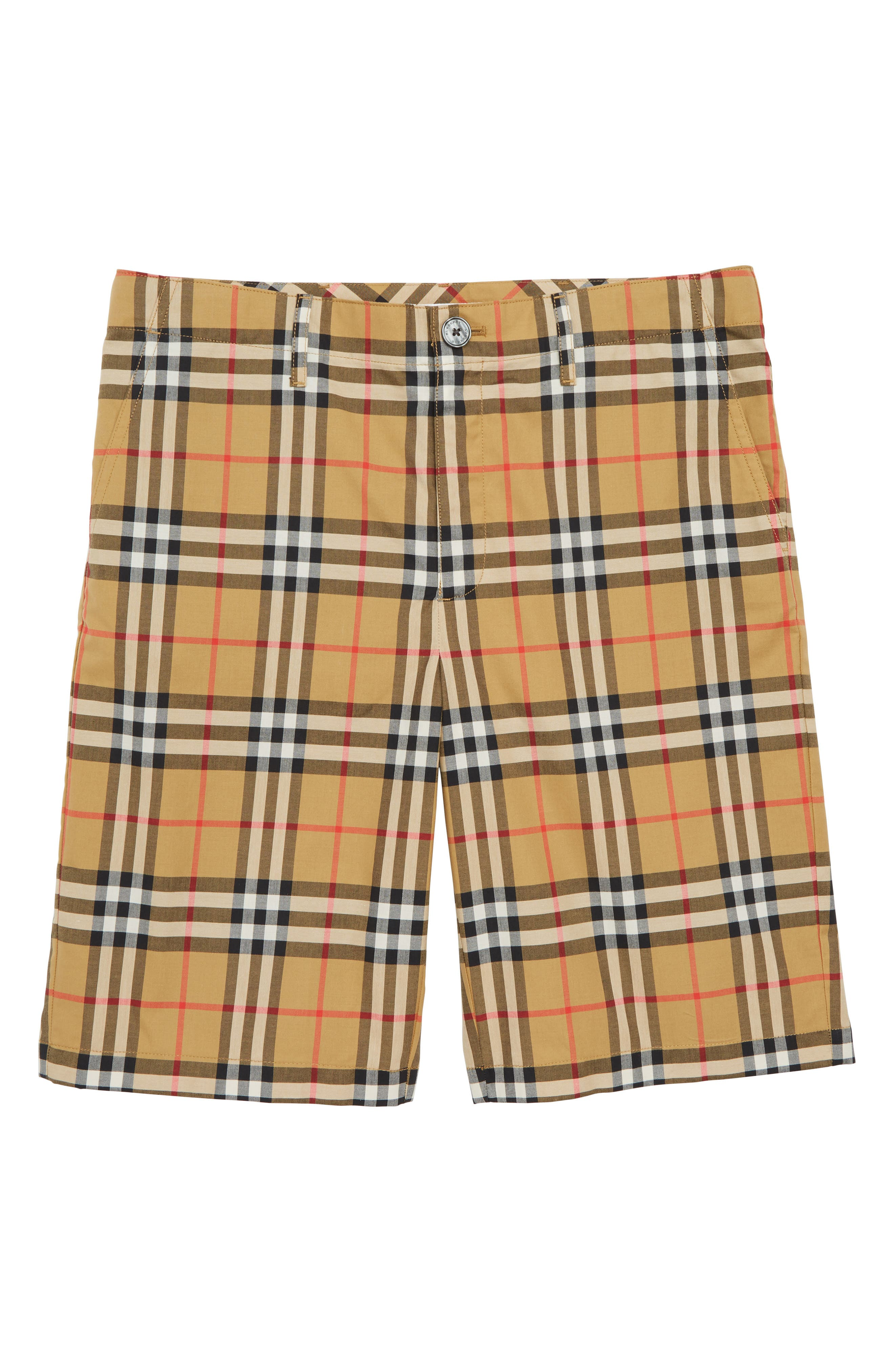 Tristen Check Shorts,                         Main,                         color, ANTIQUE YELLOW
