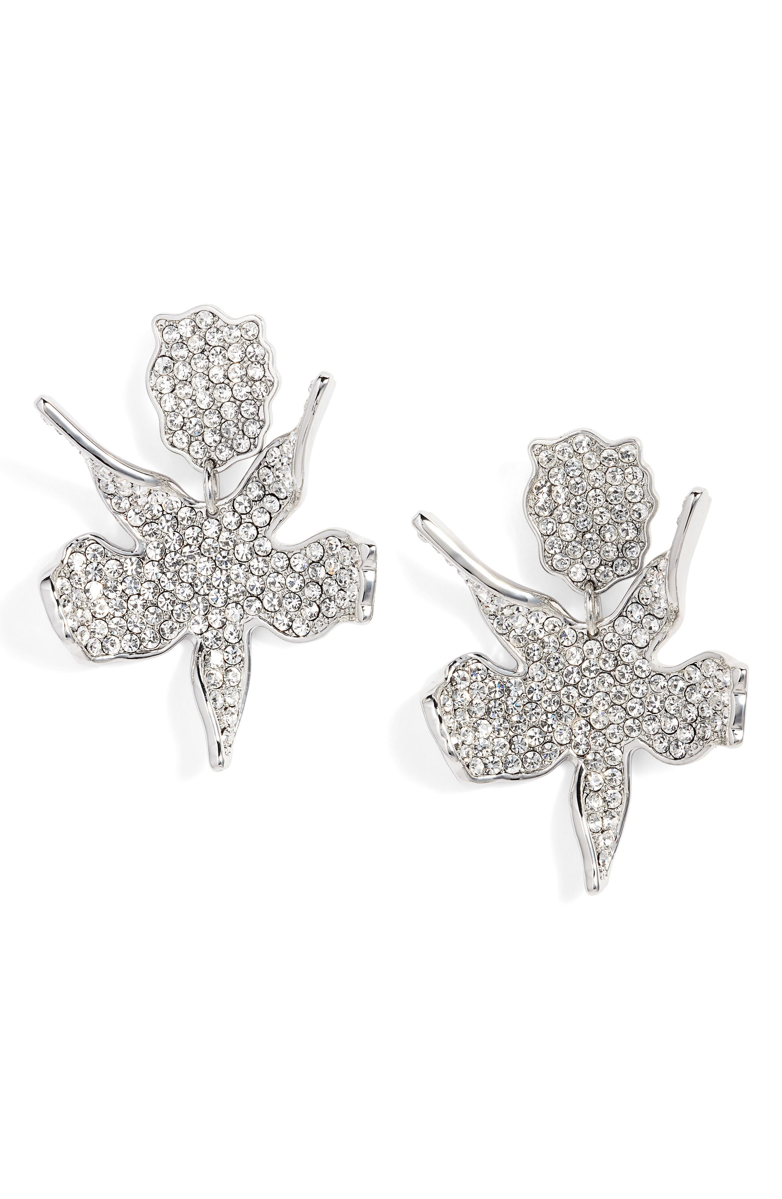Allover Crystal Lily Earrings,                             Main thumbnail 1, color,                             100