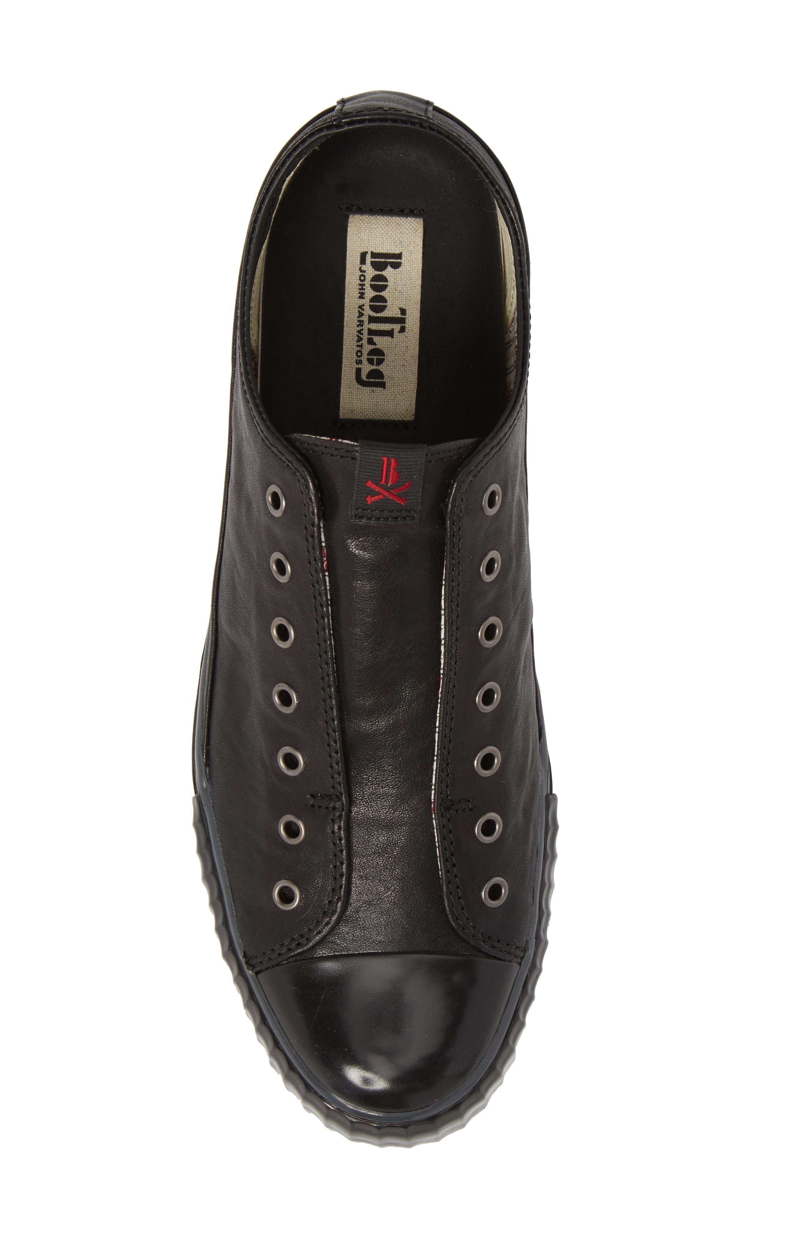 John Varvatos Star USA Bootleg Laceless Low Top Sneaker,                             Alternate thumbnail 5, color,                             BLACK LEATHER