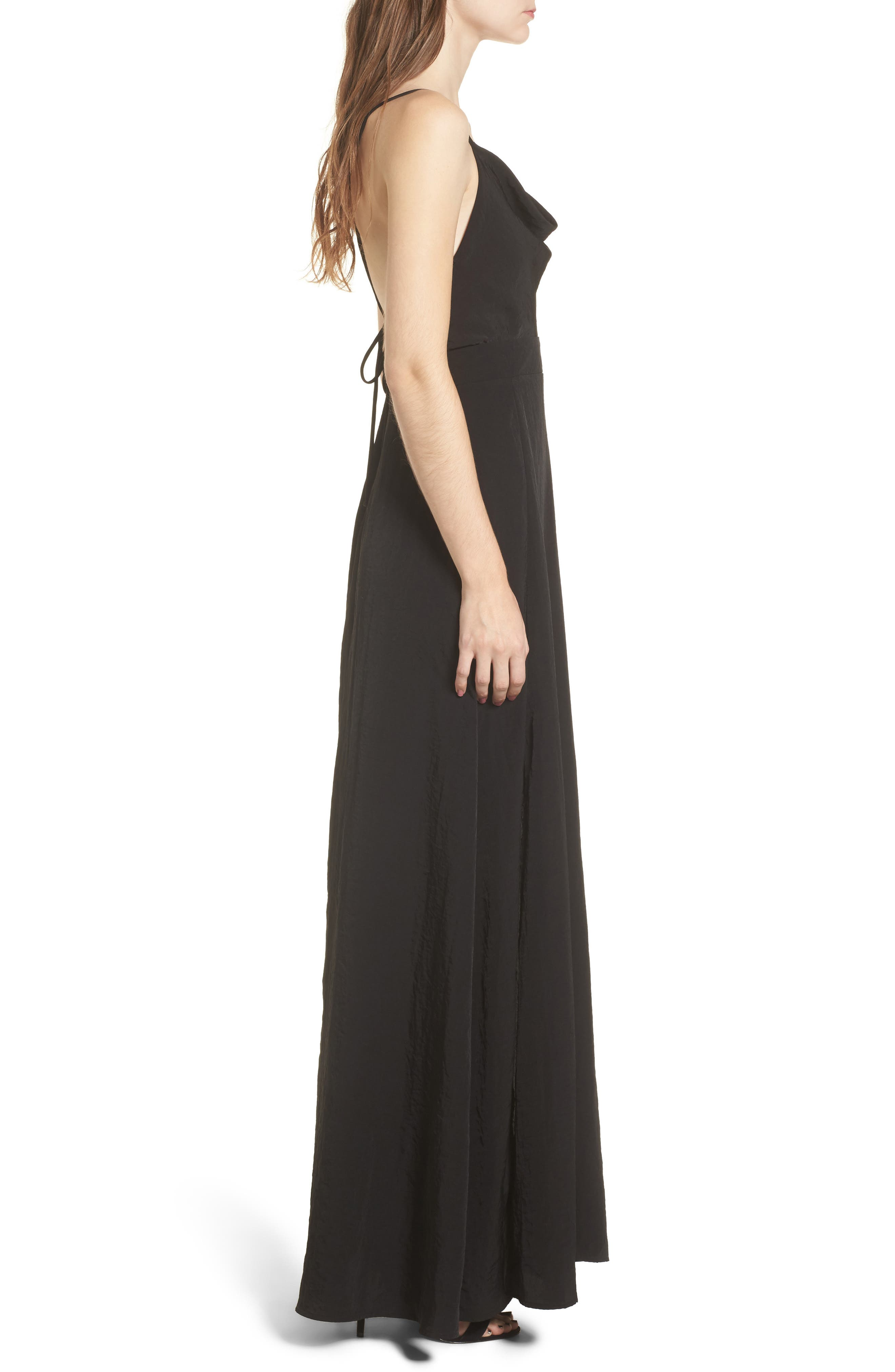 Cowl Neck Maxi Dress,                             Alternate thumbnail 3, color,                             001