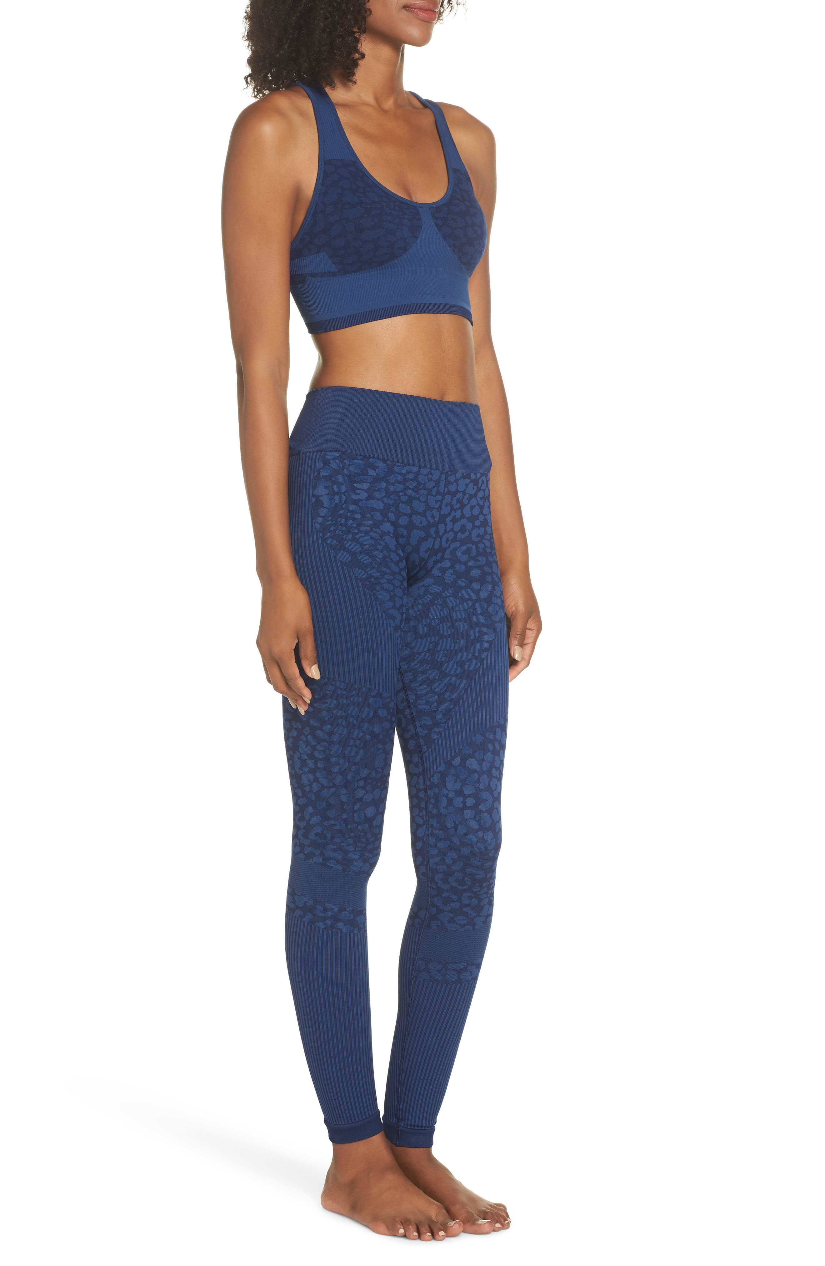 Quincy Seamless Leggings,                             Alternate thumbnail 10, color,                             NAVY LEOPARD