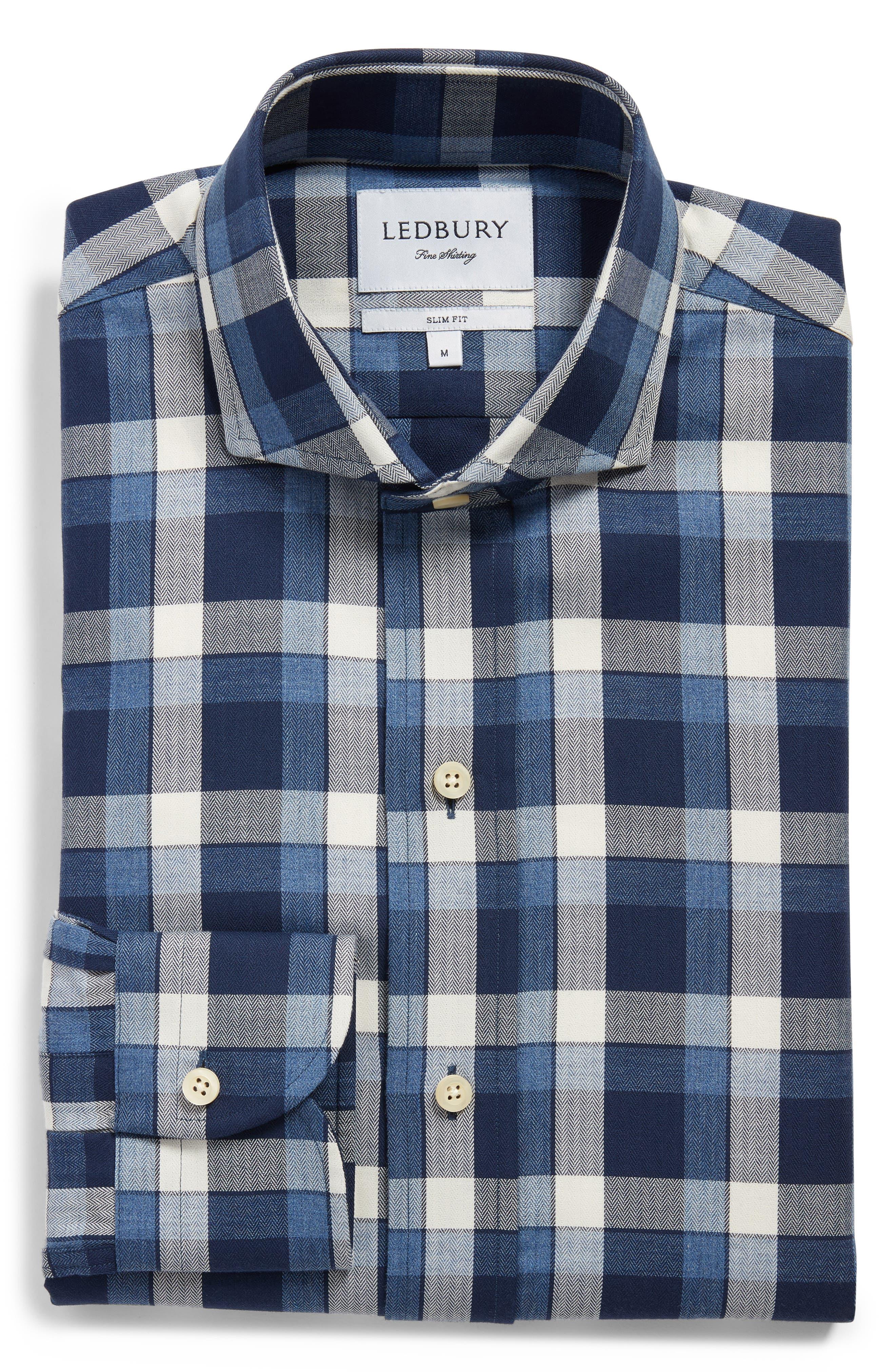 LEDBURY,                             The Dietz Slim Fit Plaid Dress Shirt,                             Alternate thumbnail 5, color,                             410