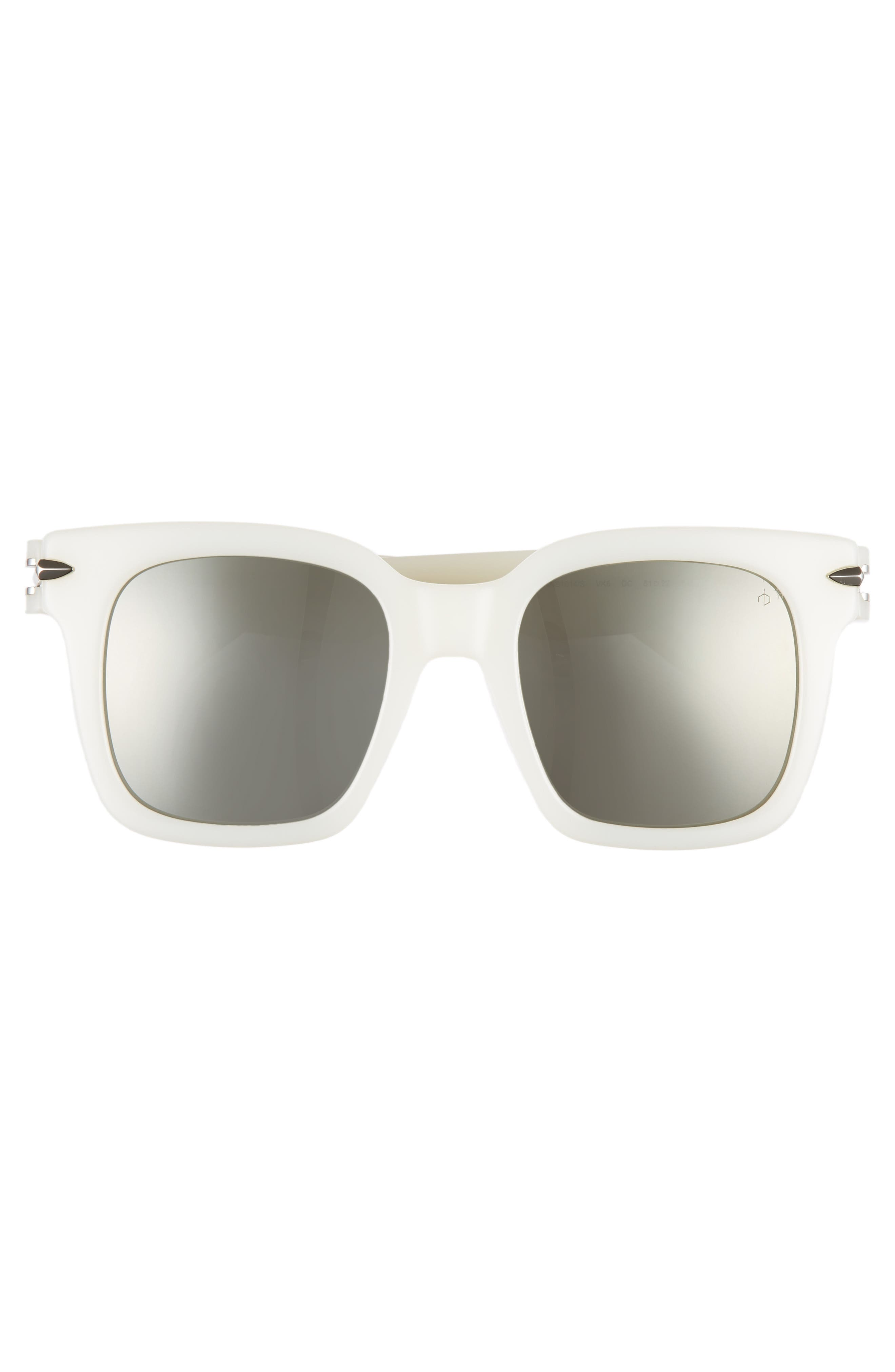 51mm Polarized Mirrored Square Sunglasses,                             Alternate thumbnail 3, color,                             WHITE