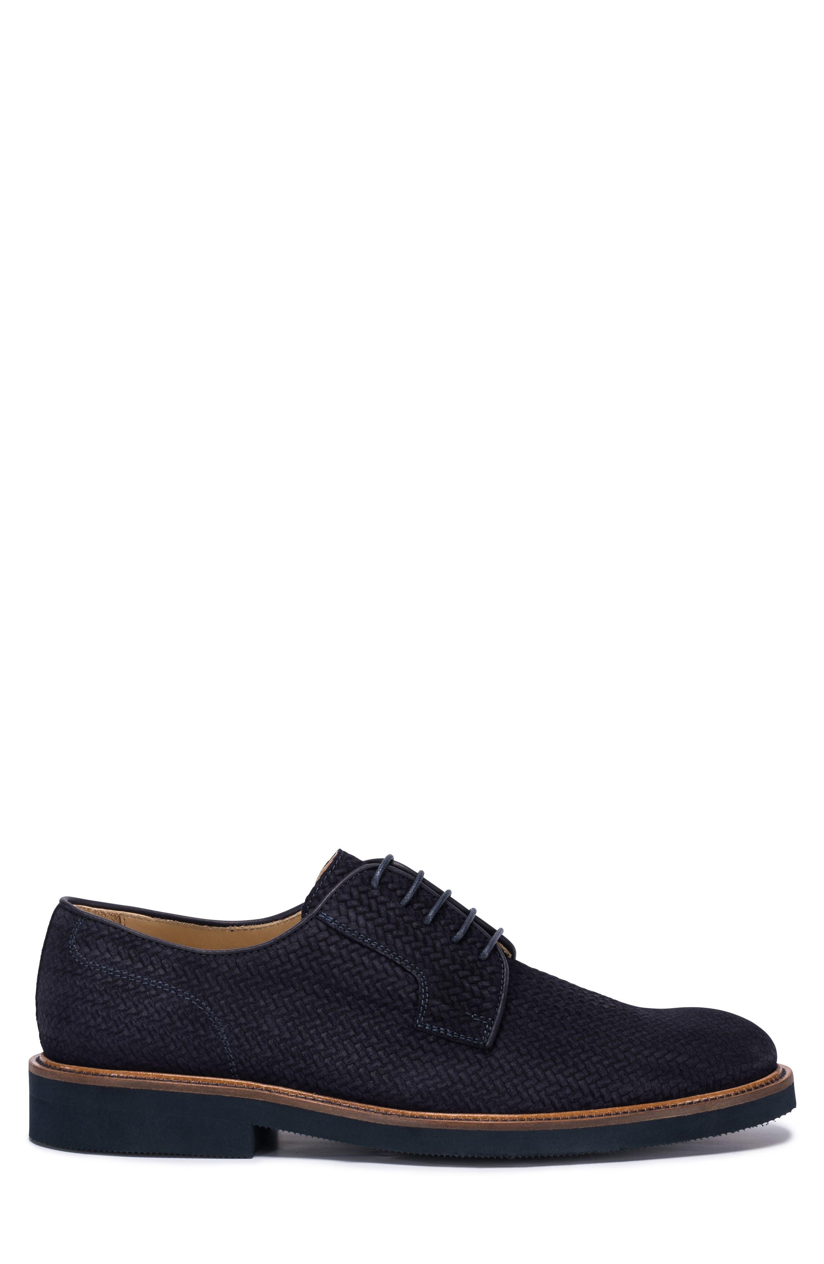 Woven Plain Toe Derby,                             Alternate thumbnail 3, color,                             BLUE SUEDE