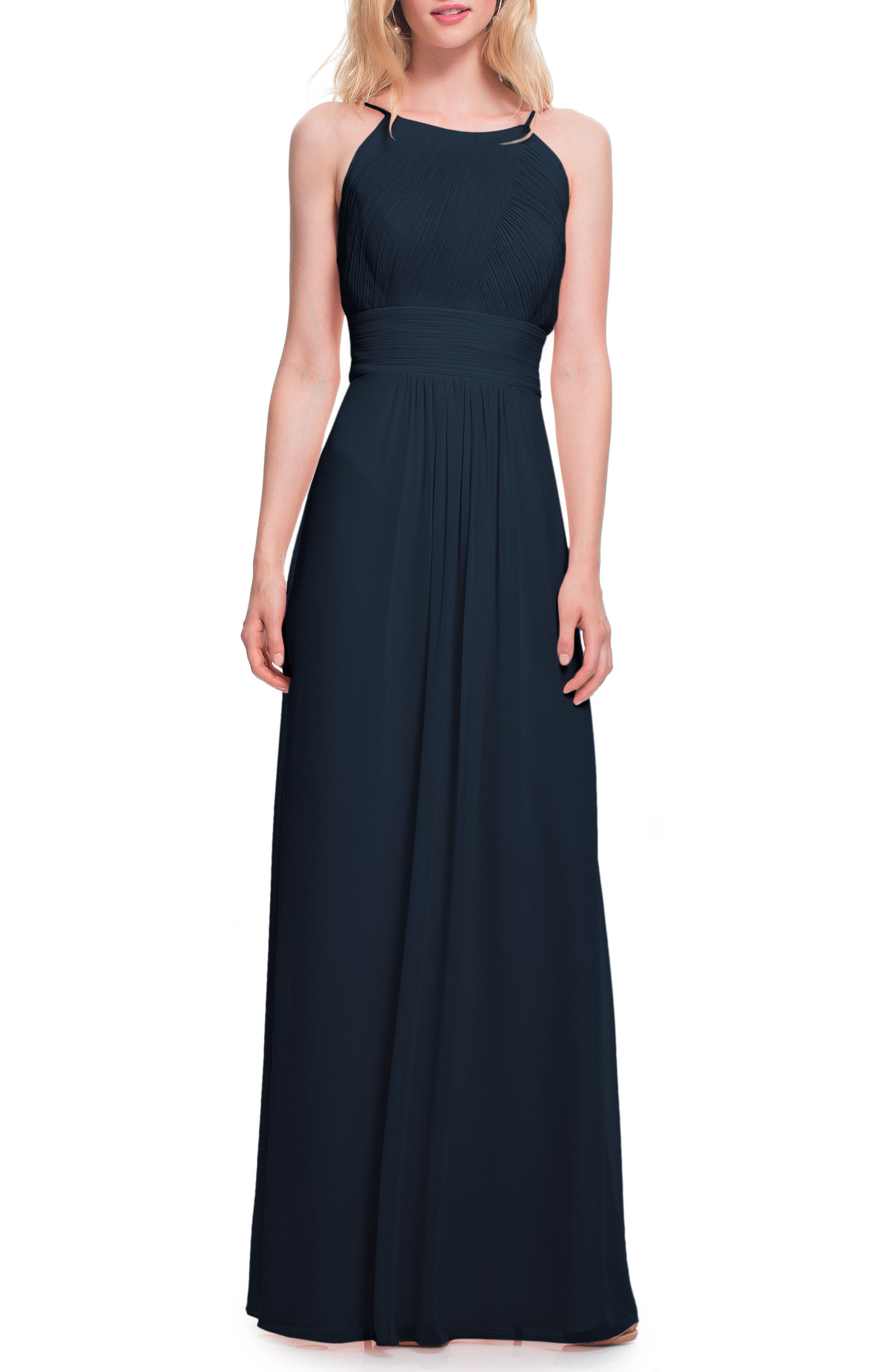 Low Back Pleated Chiffon Gown,                         Main,                         color, NAVY