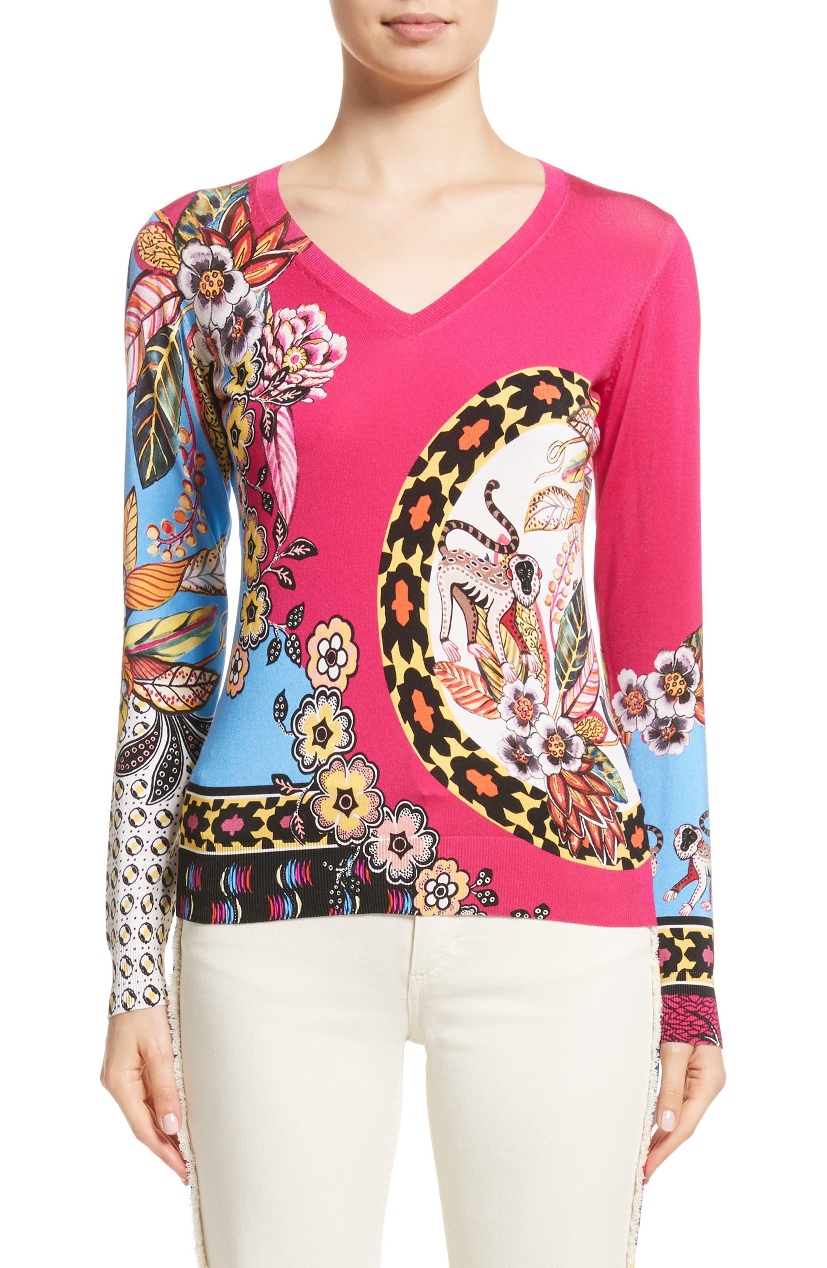 Animal Jungle Stretch Silk Sweater,                         Main,                         color, 650