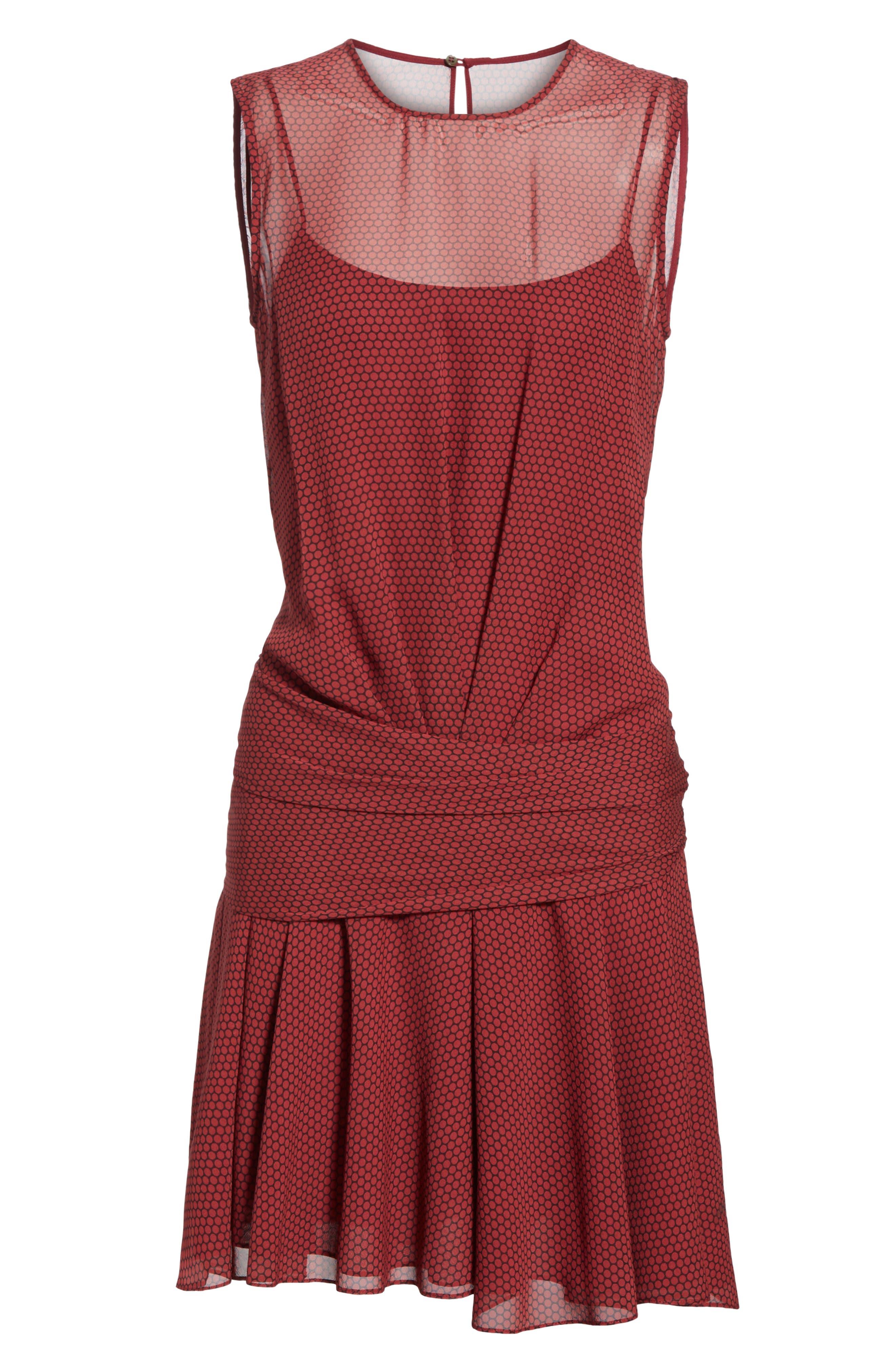 Dot Print Flounce Silk Dress,                             Alternate thumbnail 6, color,                             930