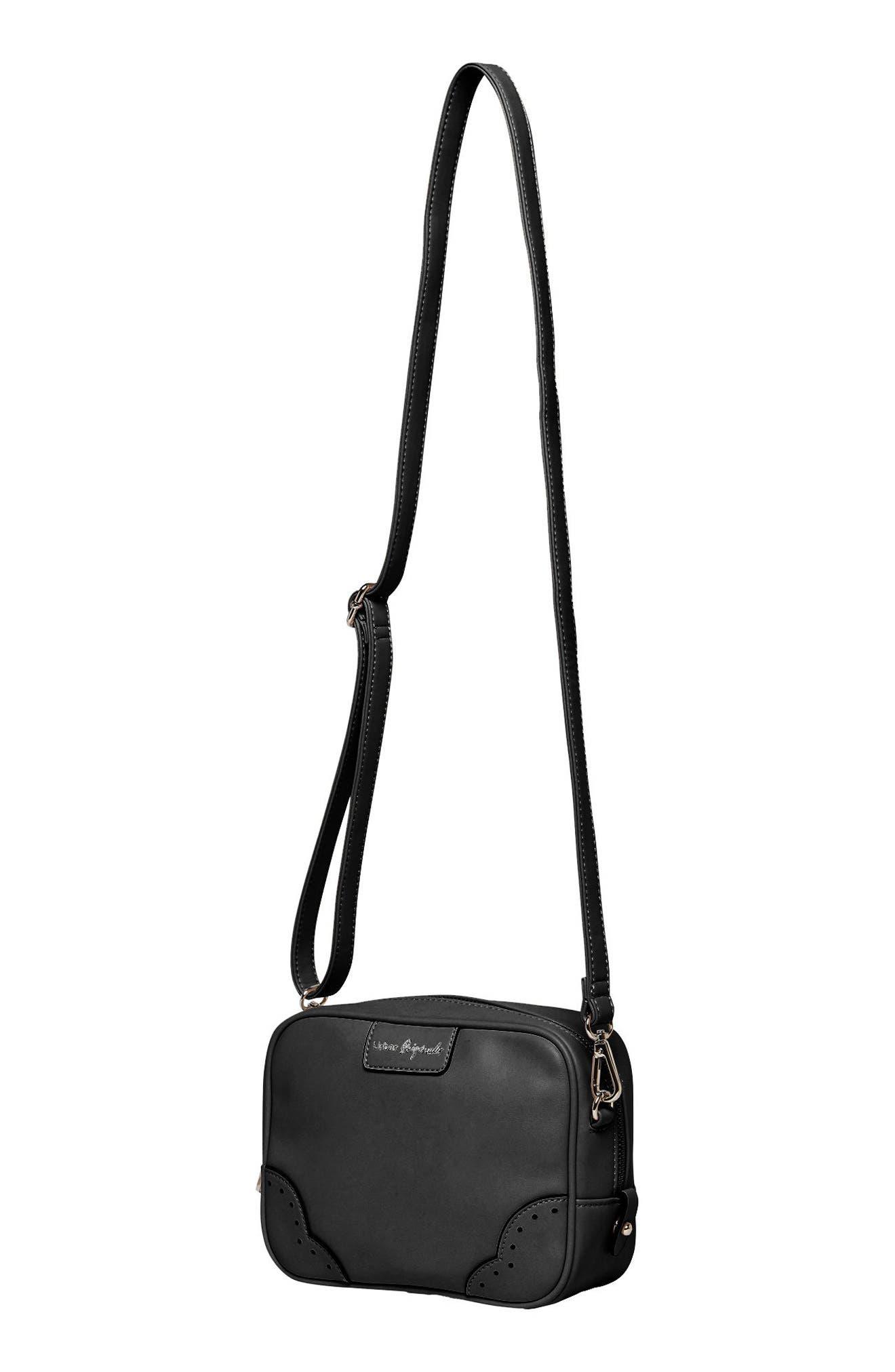 Splendour Vegan Leather Crossbody Bag,                             Alternate thumbnail 3, color,                             001