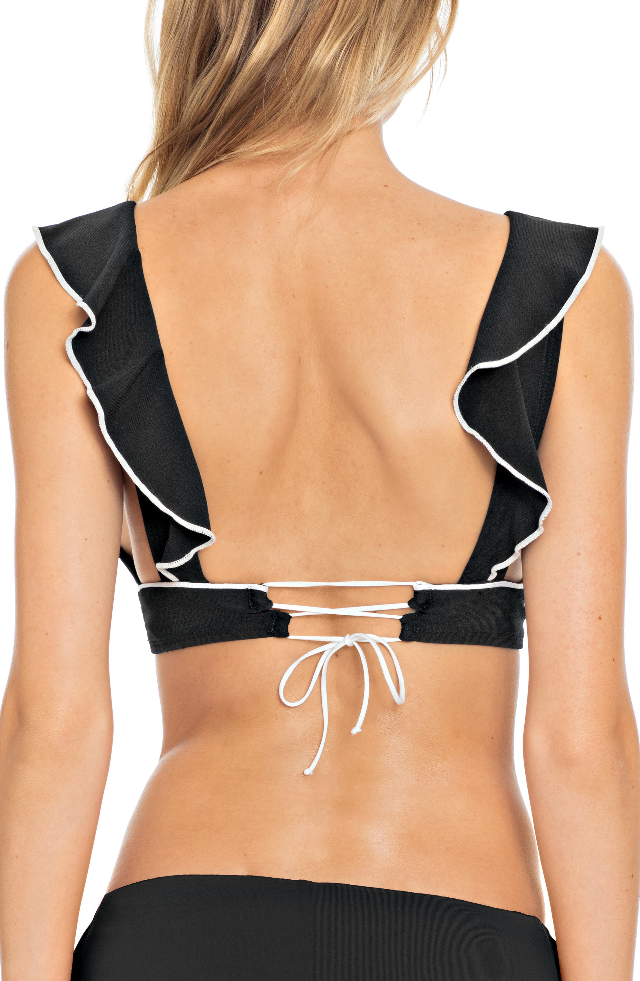 Malia Ruffle Bikini Top,                             Alternate thumbnail 2, color,                             BLACK/ IVORY