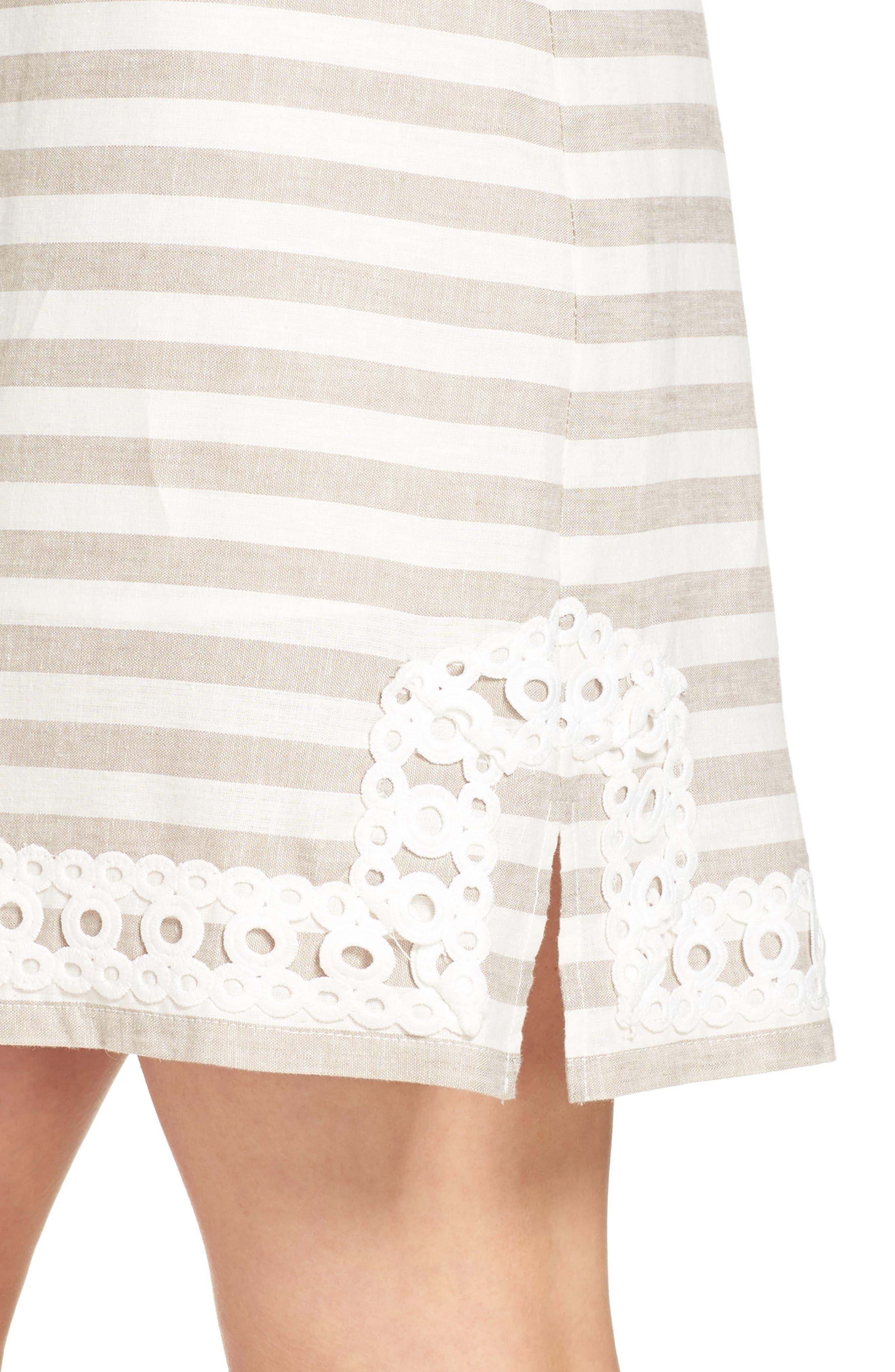 Stripe Linen & Cotton Blend Dress,                             Alternate thumbnail 4, color,                             250