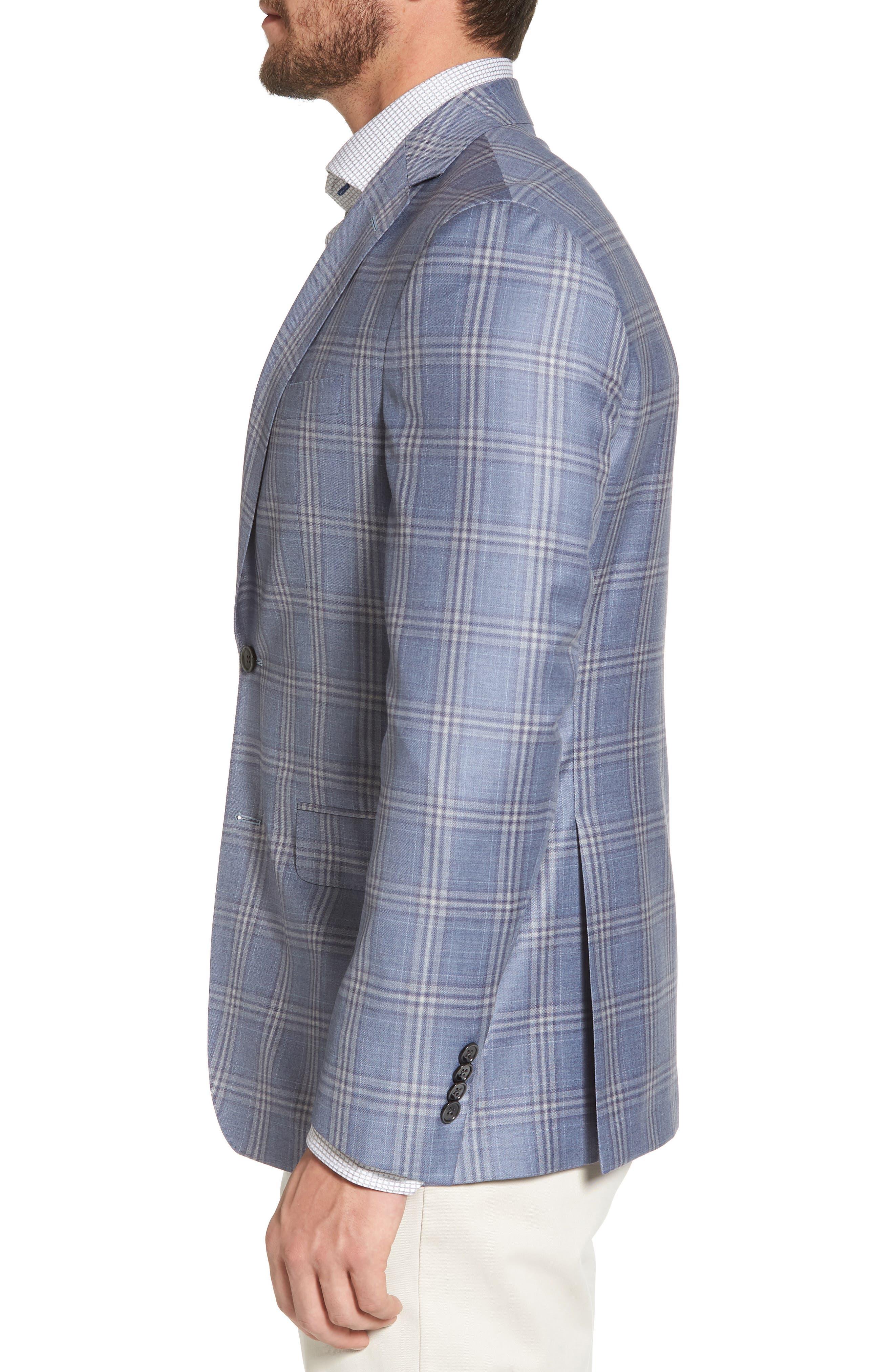 Arnold Classic Fit Plaid Wool Sport Coat,                             Alternate thumbnail 3, color,                             400