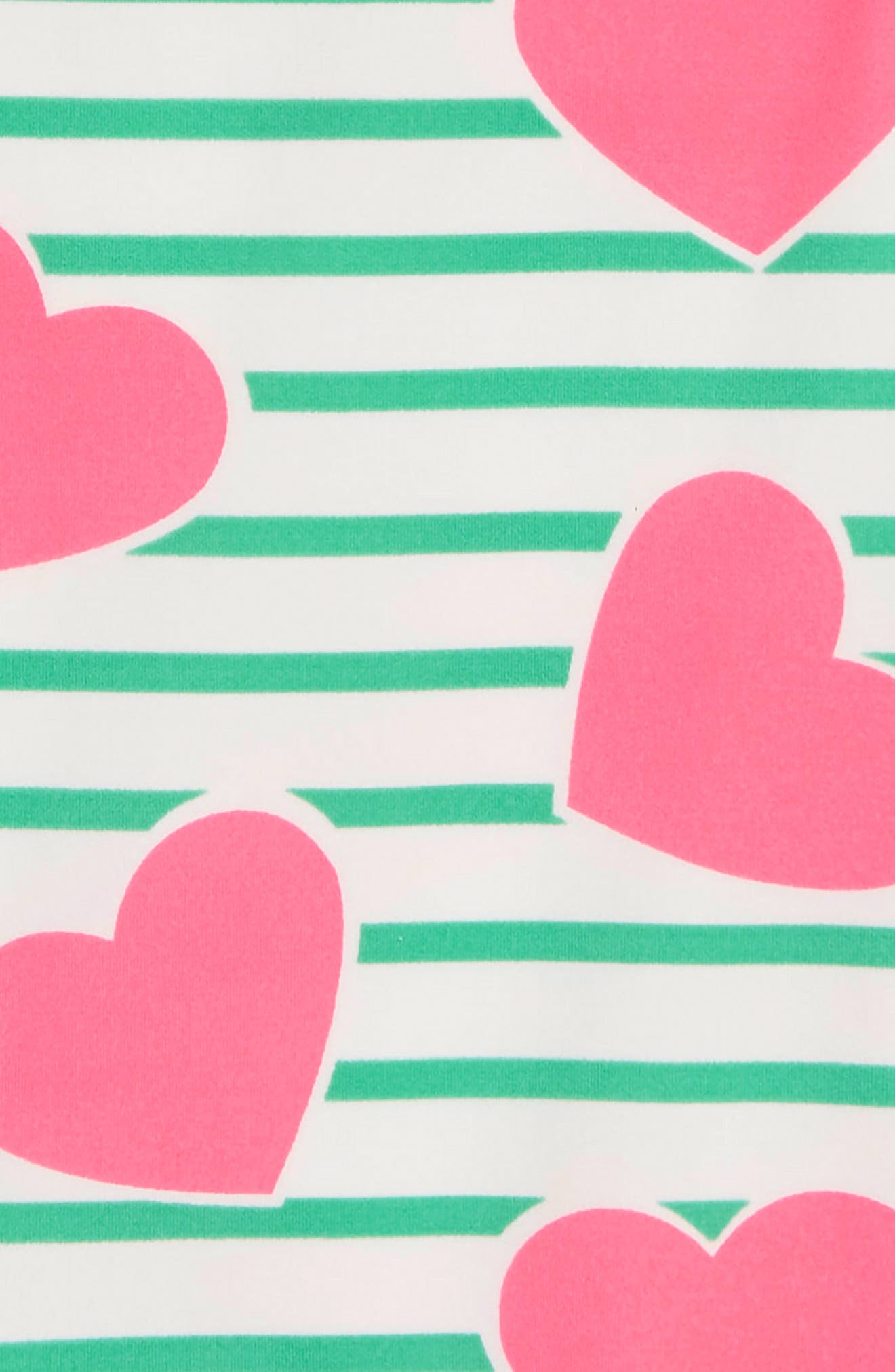 Print One-Piece Swimsuit,                             Alternate thumbnail 2, color,                             GREEN IVORY CORAL PNK HEARTS