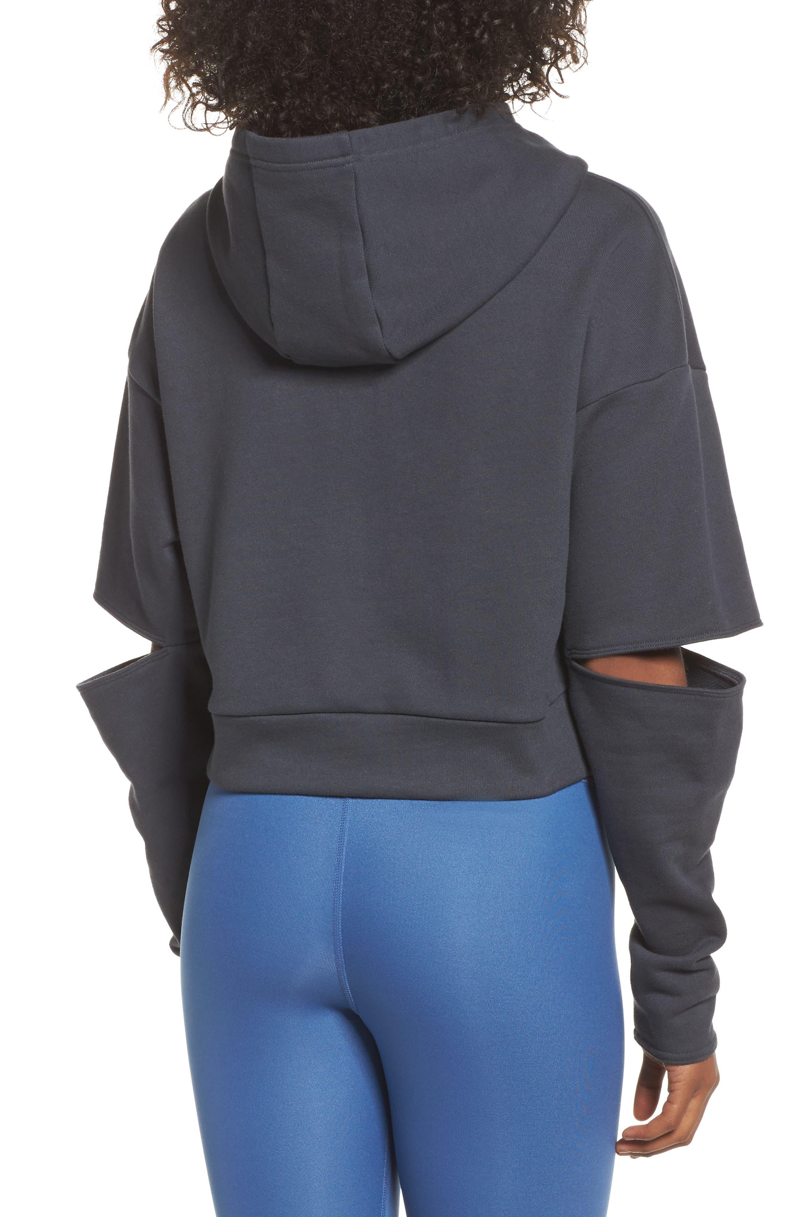 Peak Cutout Long Sleeve Pullover Crop Hoodie,                             Alternate thumbnail 6, color,