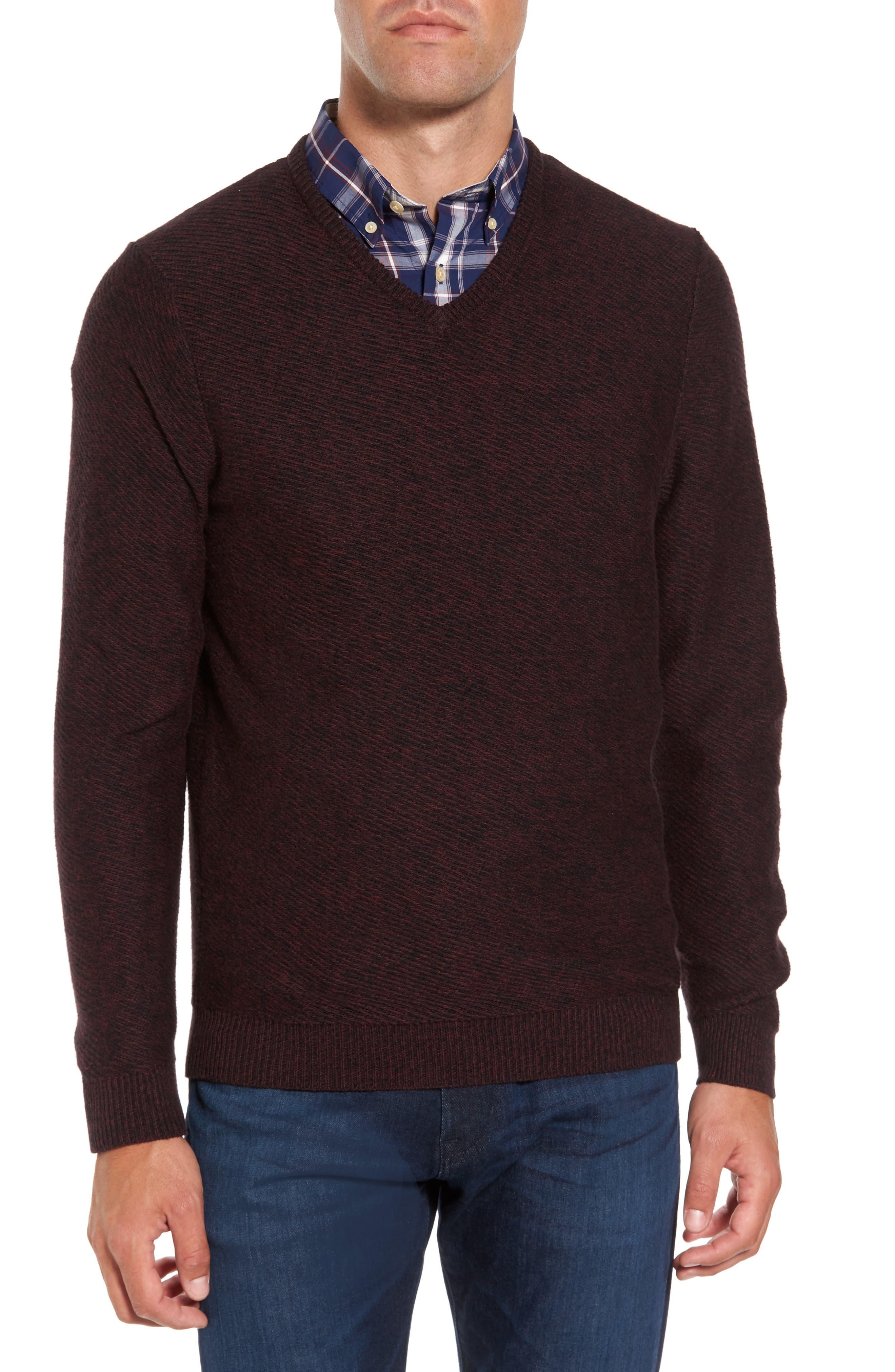 Cotton & Cashmere V-Neck Sweater,                             Main thumbnail 2, color,