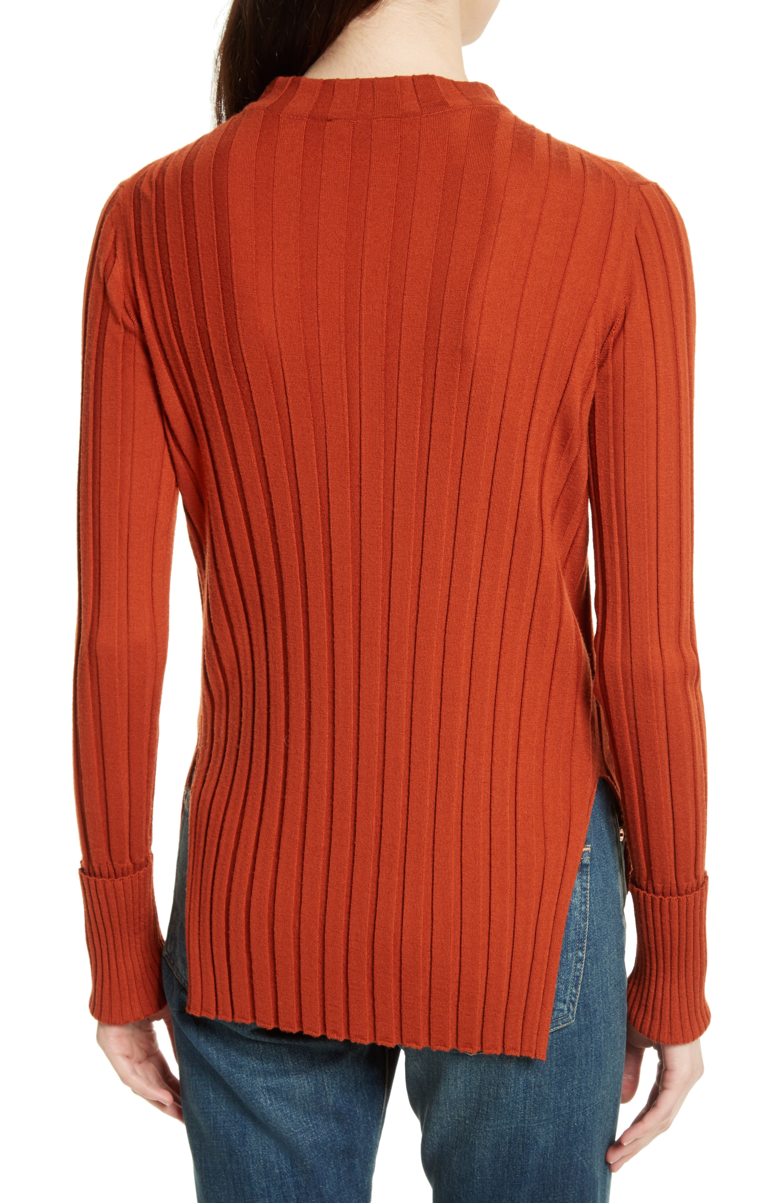 Wide Ribbed Mock Neck Wool Sweater,                             Alternate thumbnail 10, color,