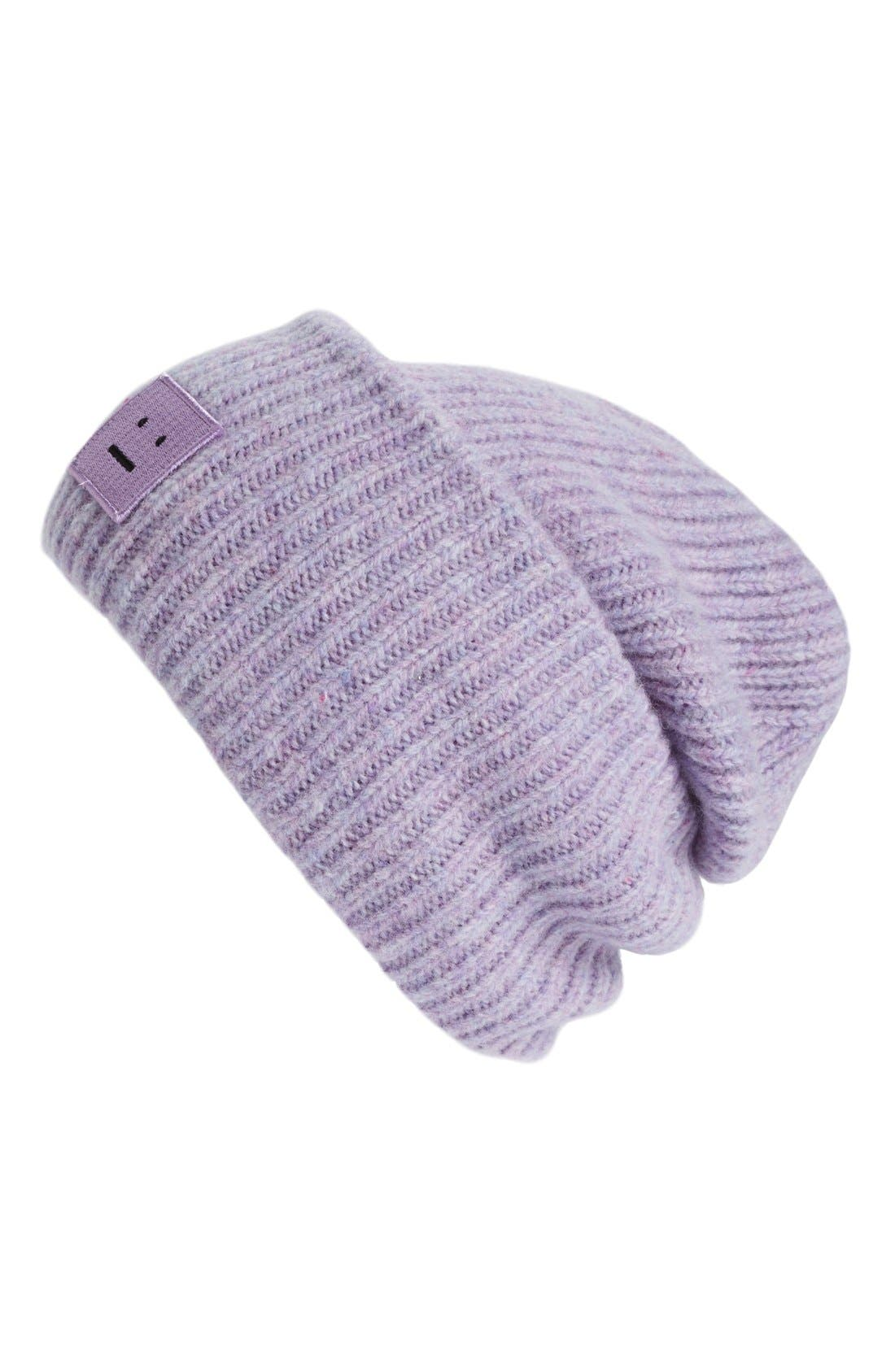 Pansy Rib Knit Beanie, Main, color, 530