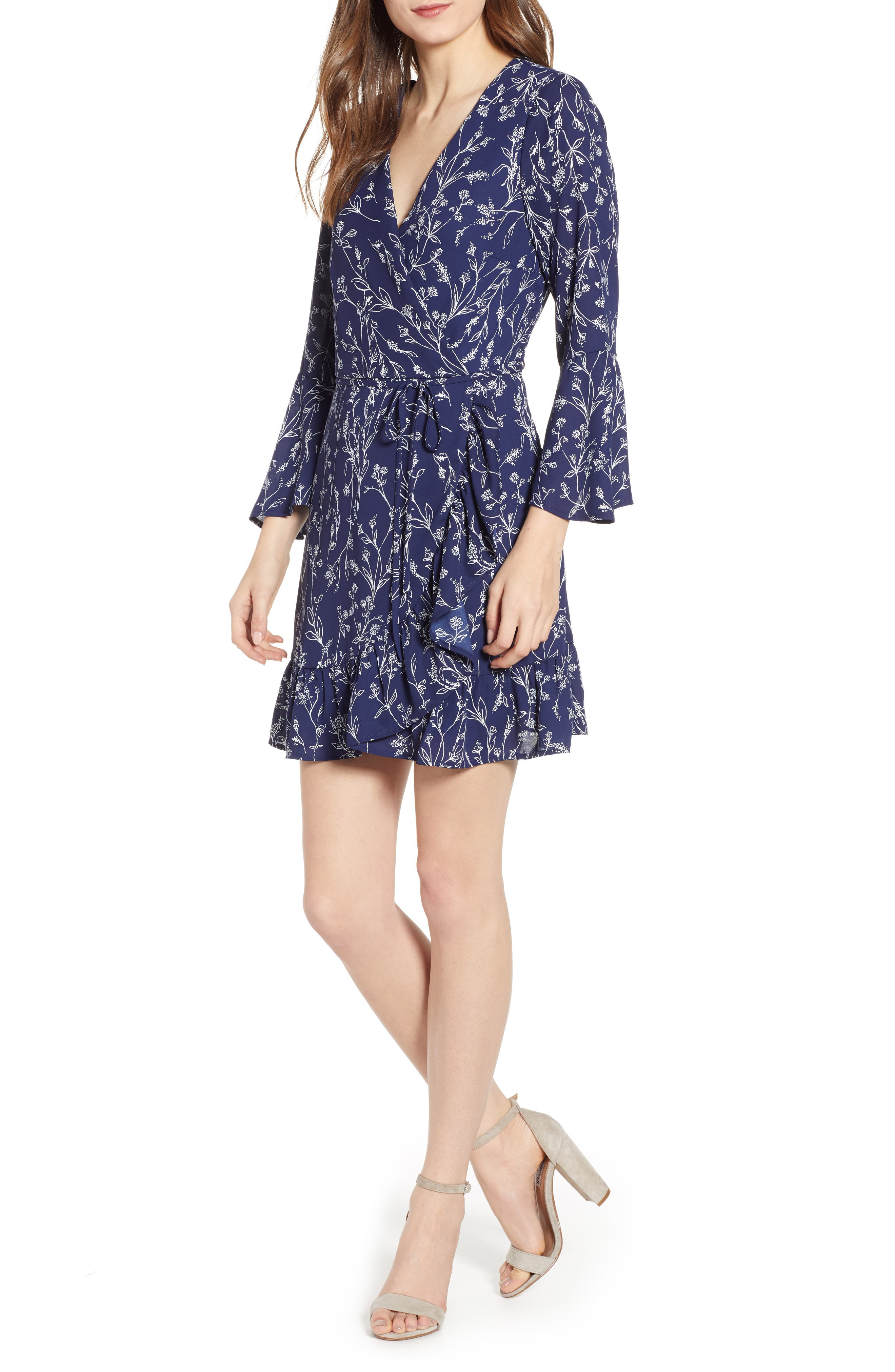 SPEECHLESS Bell Cuff Wrap Minidress, Main, color, NAVY/ IVORY