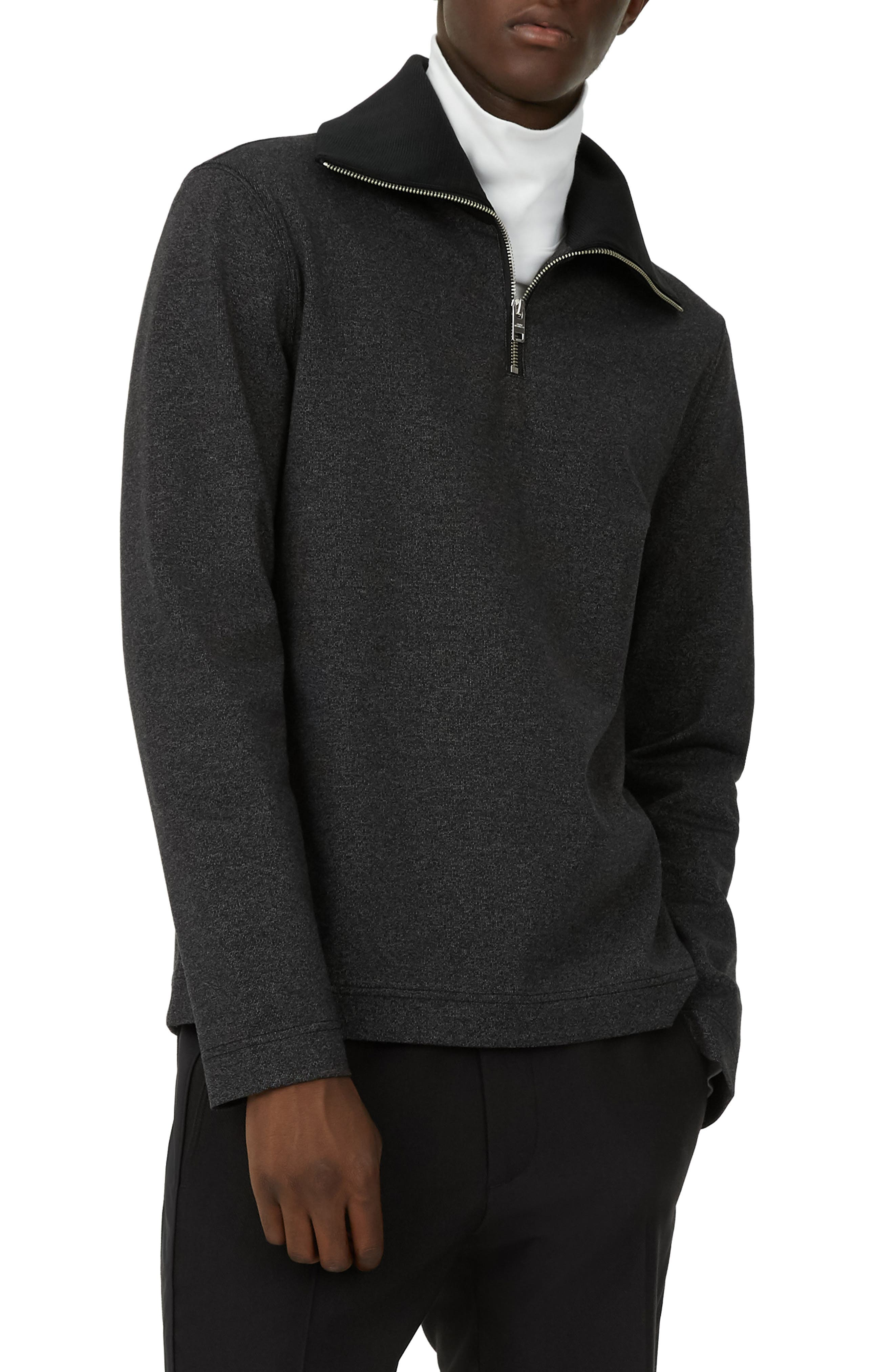 Trim Fit Quarter Zip Pullover,                             Main thumbnail 1, color,                             GREY