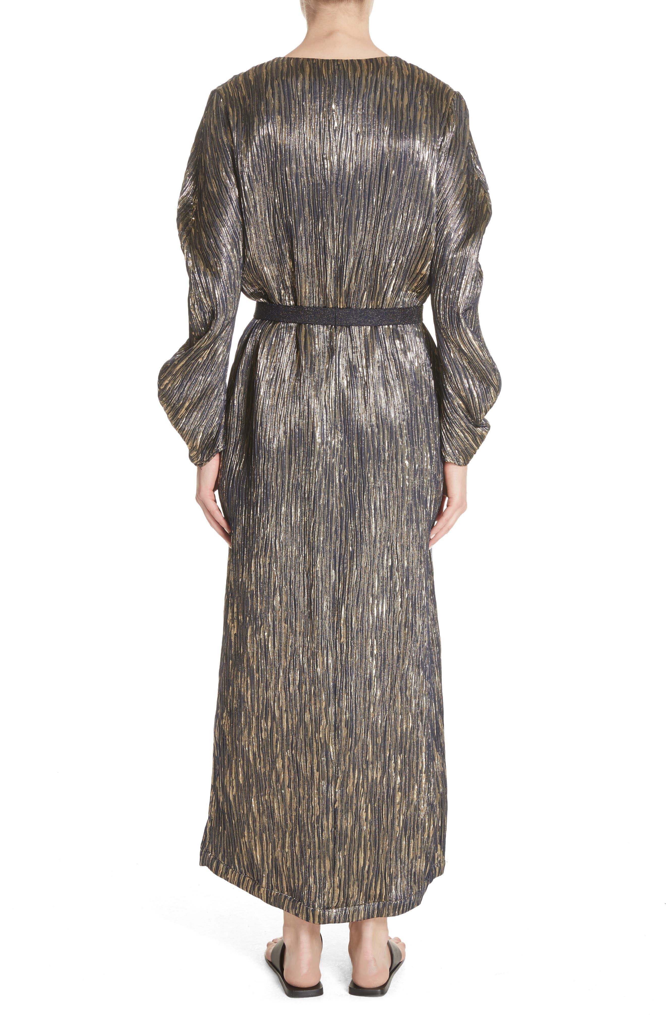 Metallic Silk Blend Midi Dress,                             Alternate thumbnail 2, color,                             004