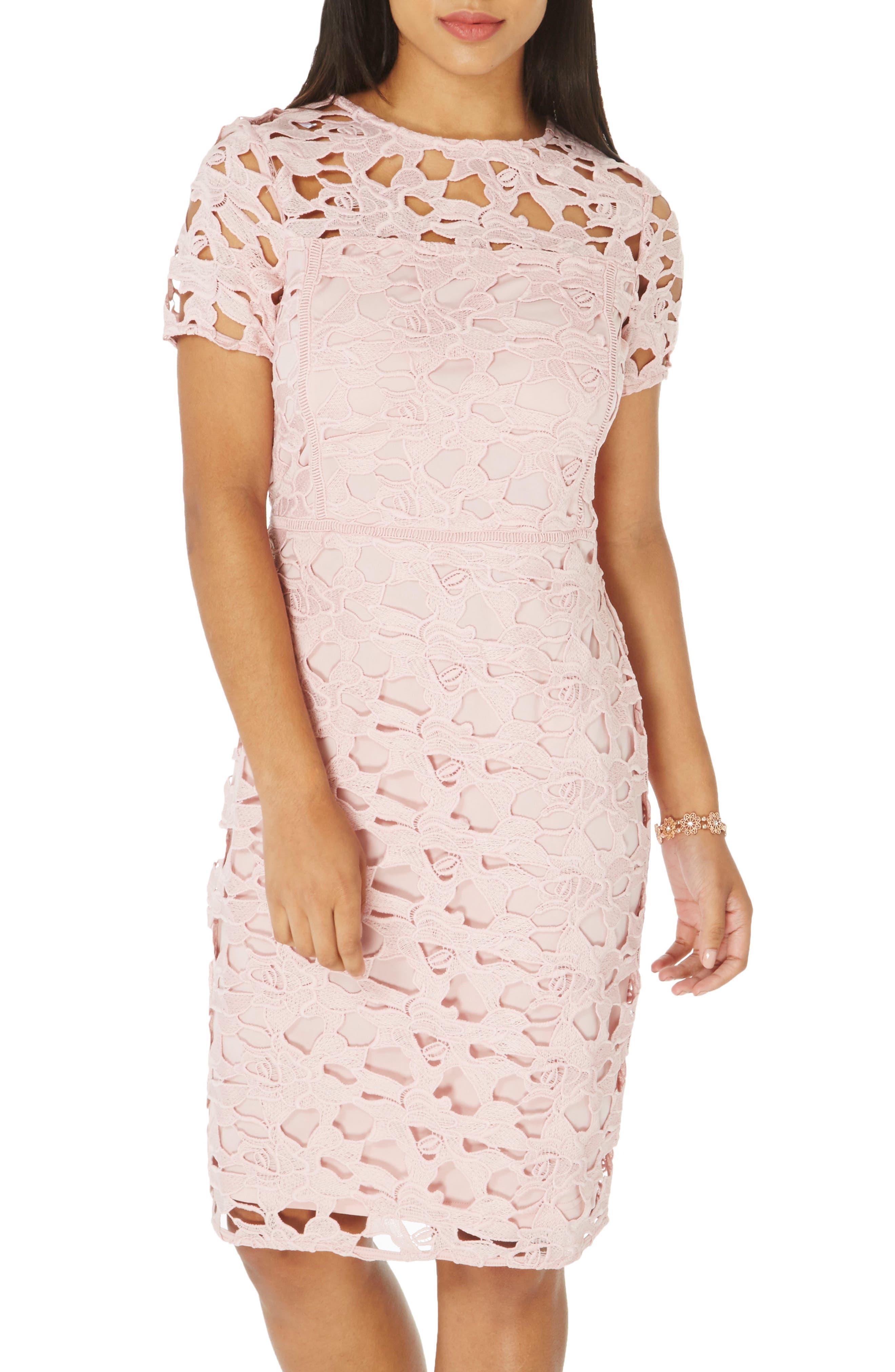 Lace Sheath Dress,                             Alternate thumbnail 3, color,                             650